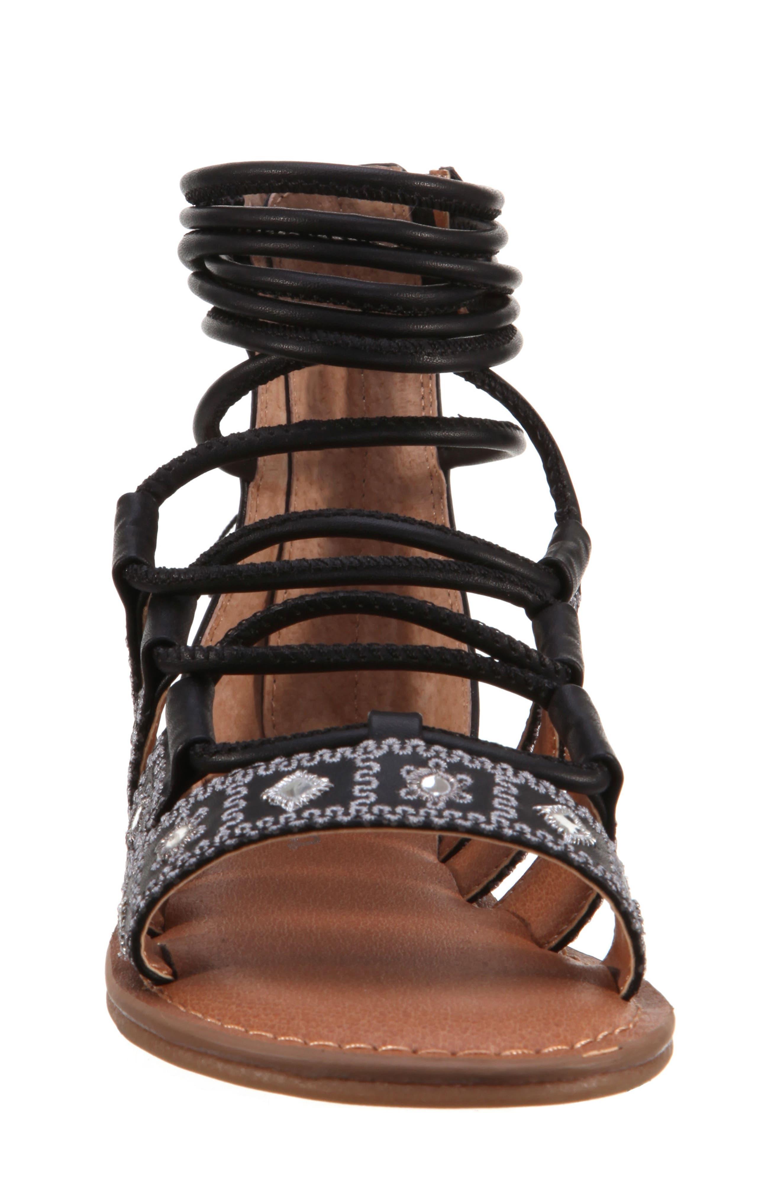 Sherryll Embellished Gladiator Sandal,                             Alternate thumbnail 3, color,                             Black Smooth
