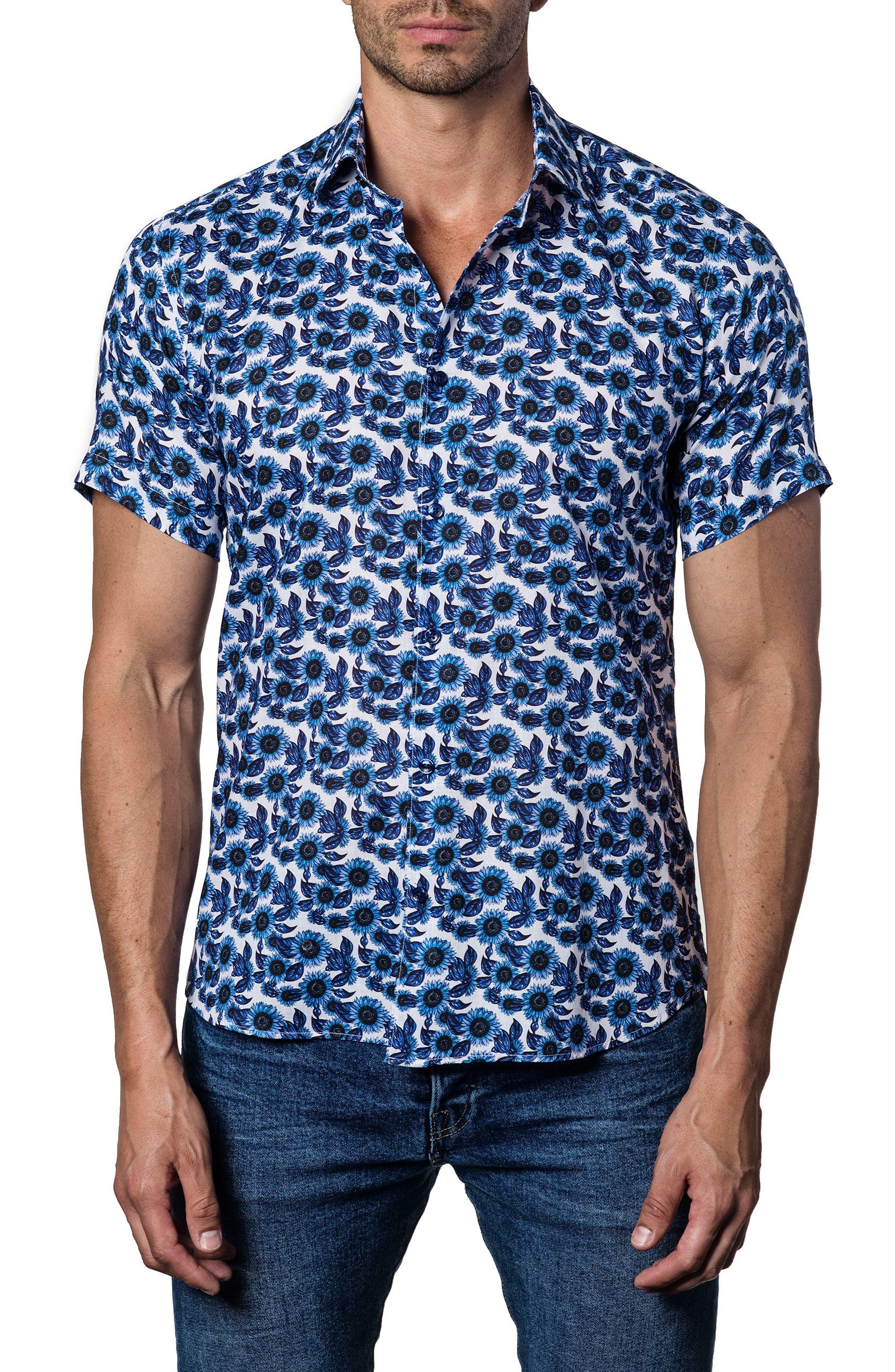 Trim Fit Floral Print Sport Shirt,                         Main,                         color, White - Blue