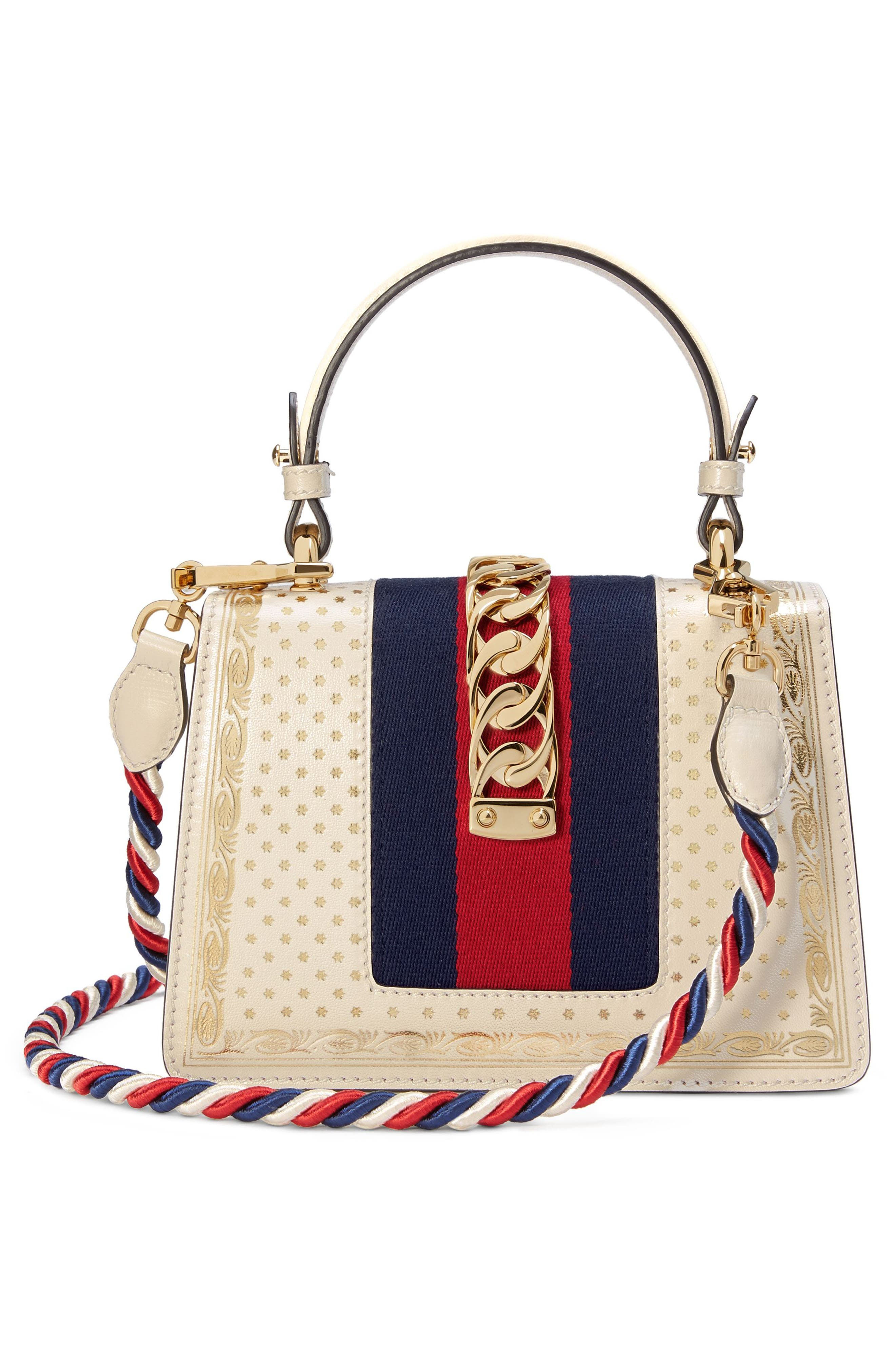 Mini Sylvie Moon & Stars Leather Shoulder Bag,                             Alternate thumbnail 2, color,                             Mystic White/ Oro/ Blue Red