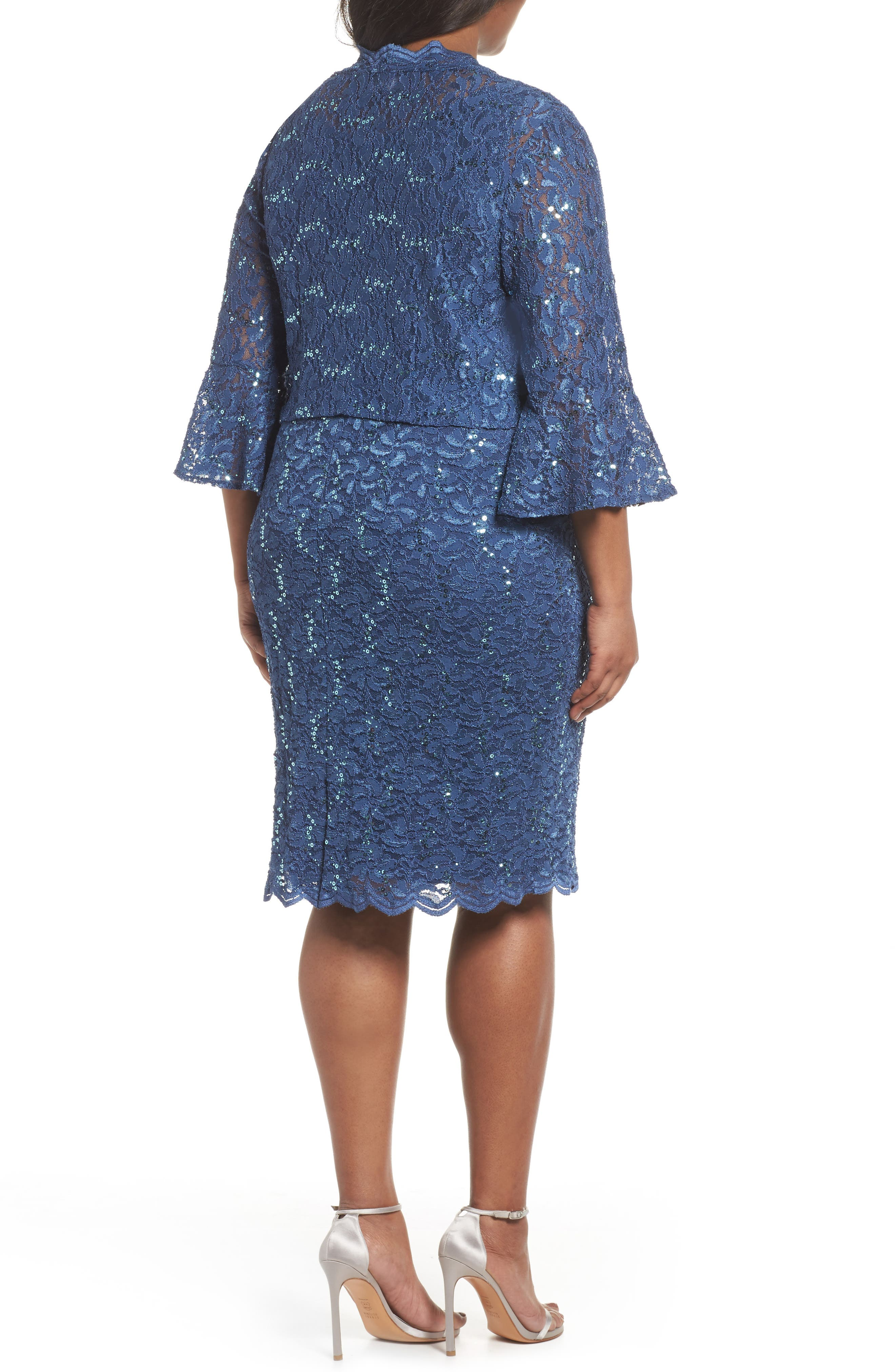 Sequin Lace Sheath Dress with Jacket,                             Alternate thumbnail 2, color,                             Wedgewood