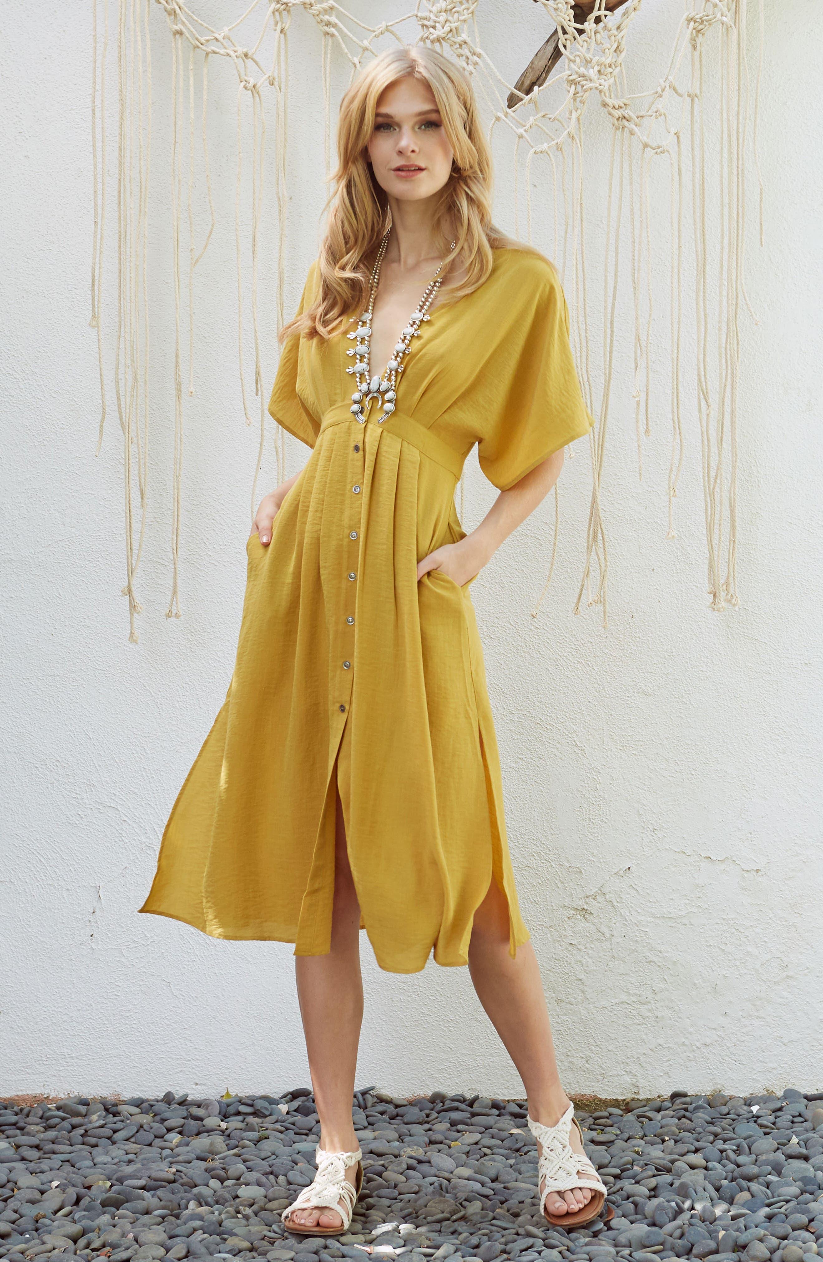 Poppy Button Front Midi Dress,                             Alternate thumbnail 2, color,                             Mustard