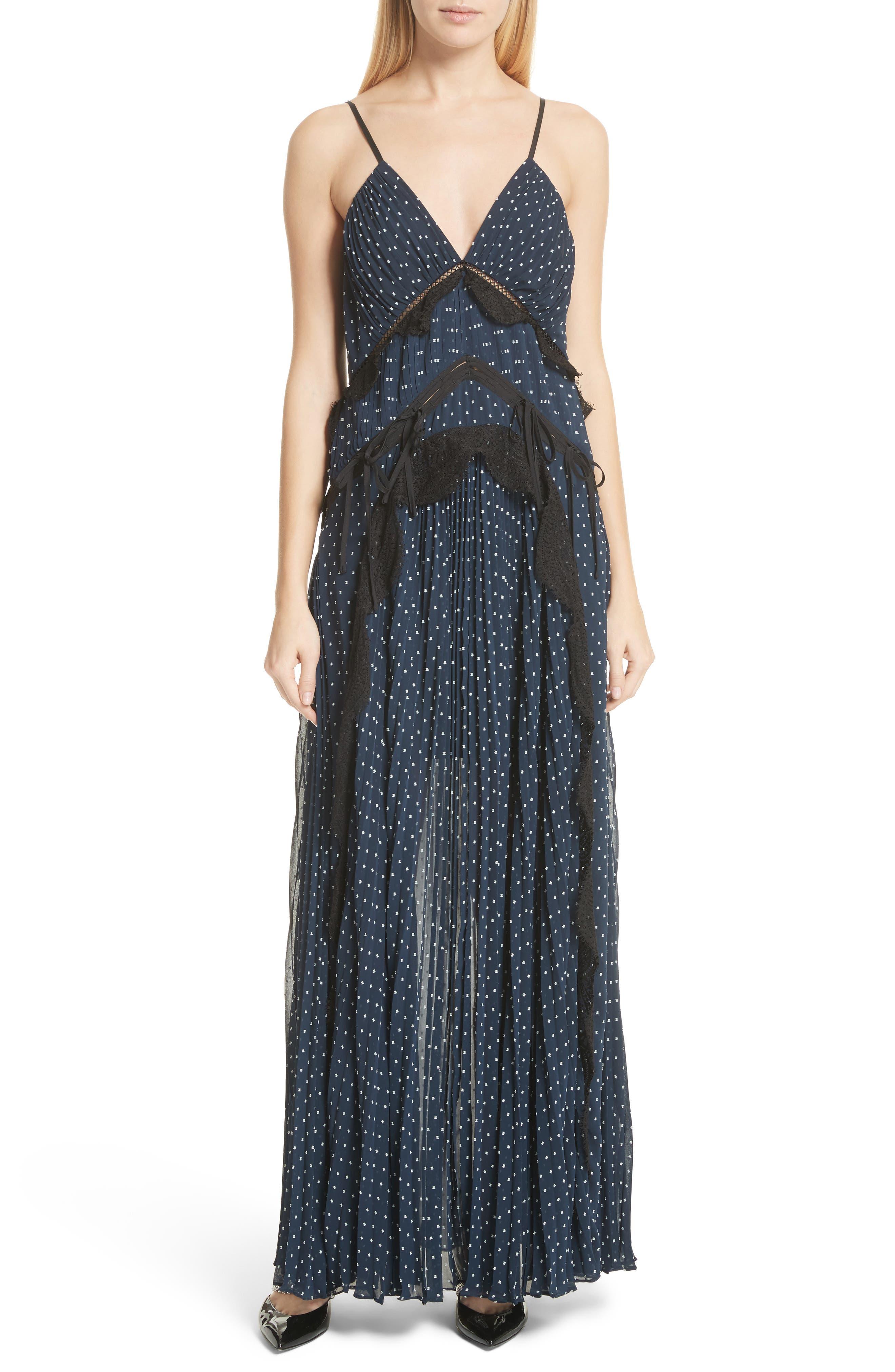 Plumetis Maxi Dress,                             Main thumbnail 1, color,                             Navy