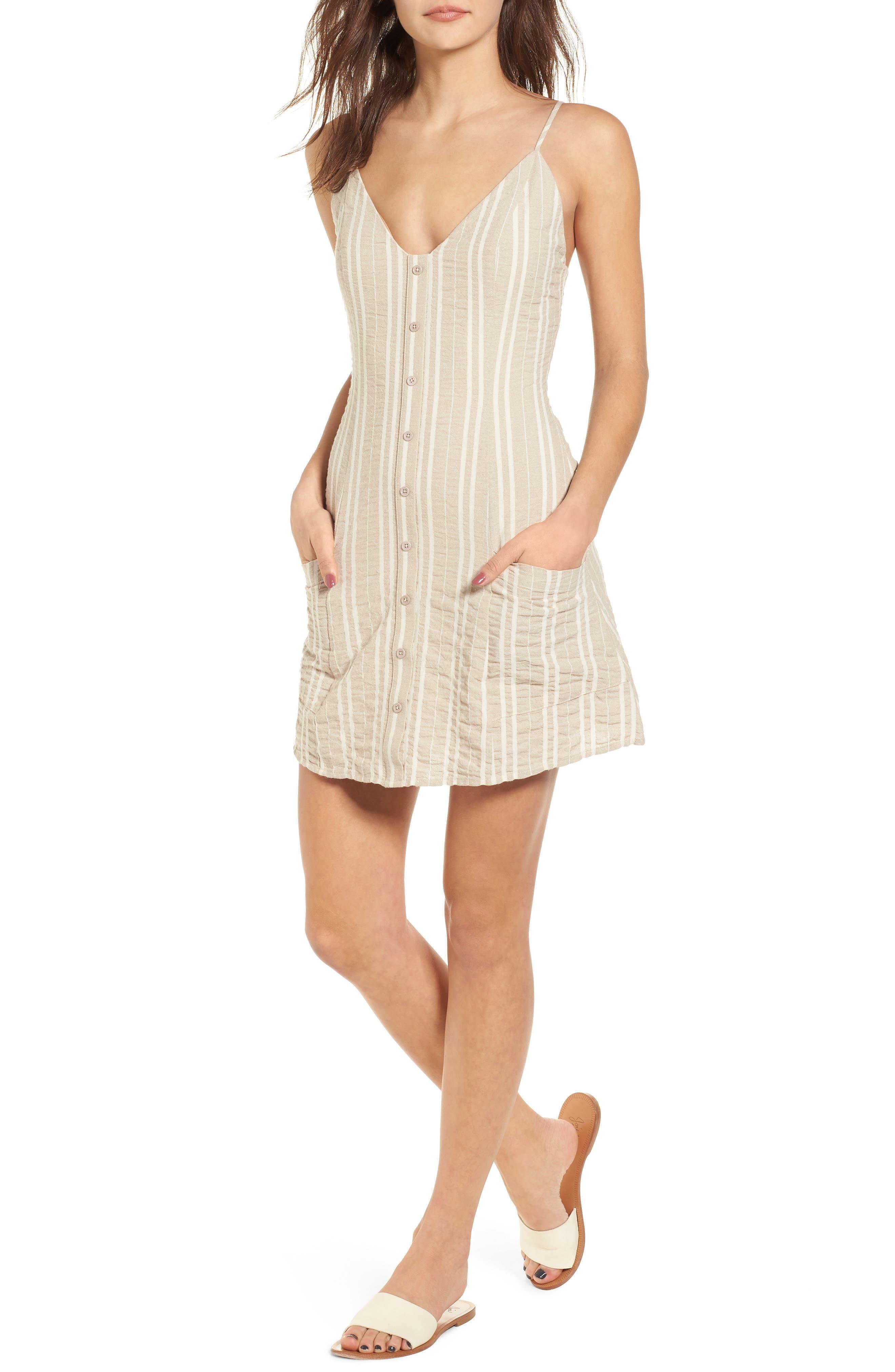 Stella Stripe Dress,                             Main thumbnail 1, color,                             Cream