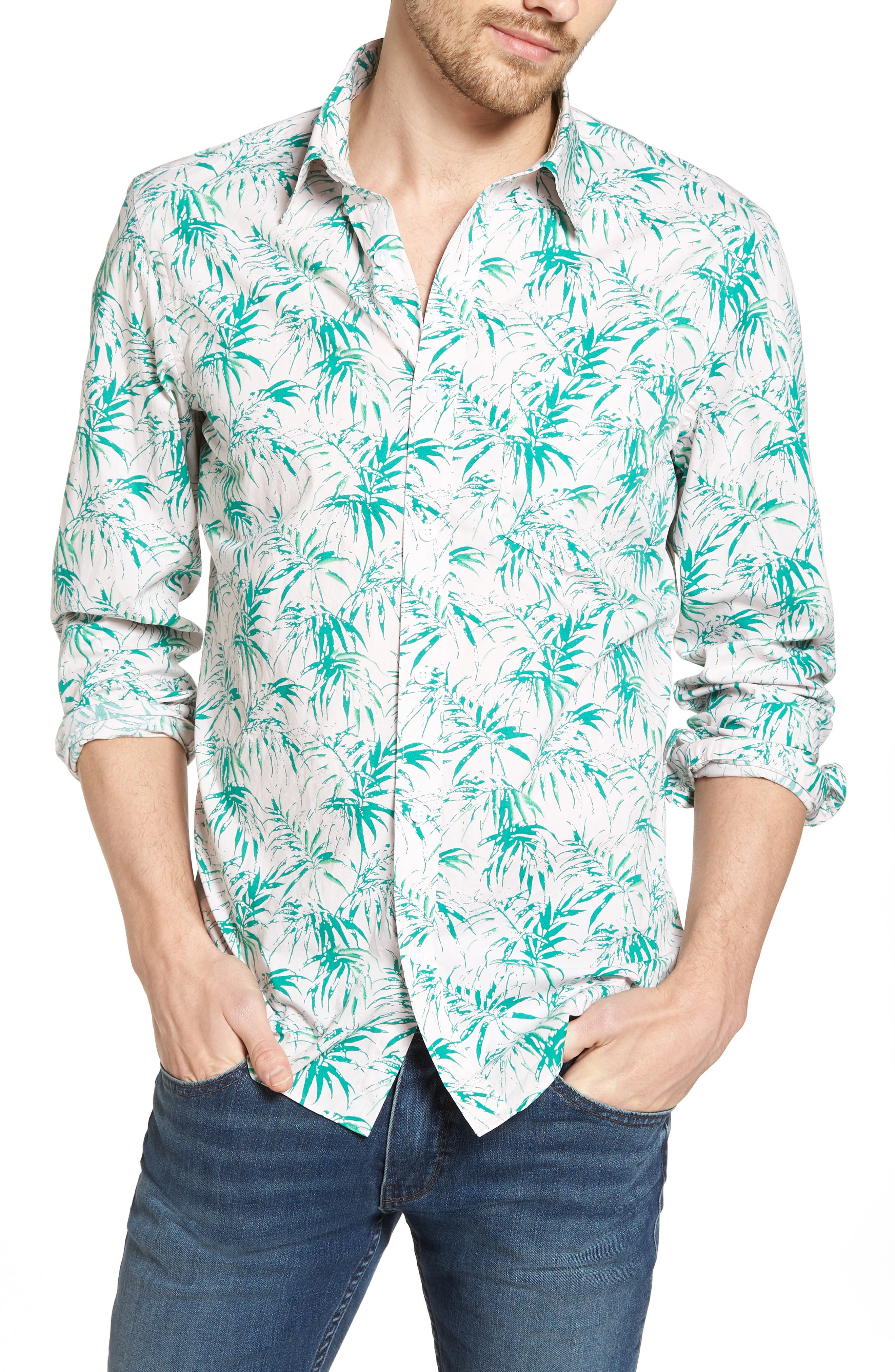 Trim Fit Palm Print Sport Shirt,                             Main thumbnail 1, color,                             Pink Green Stamped Palms