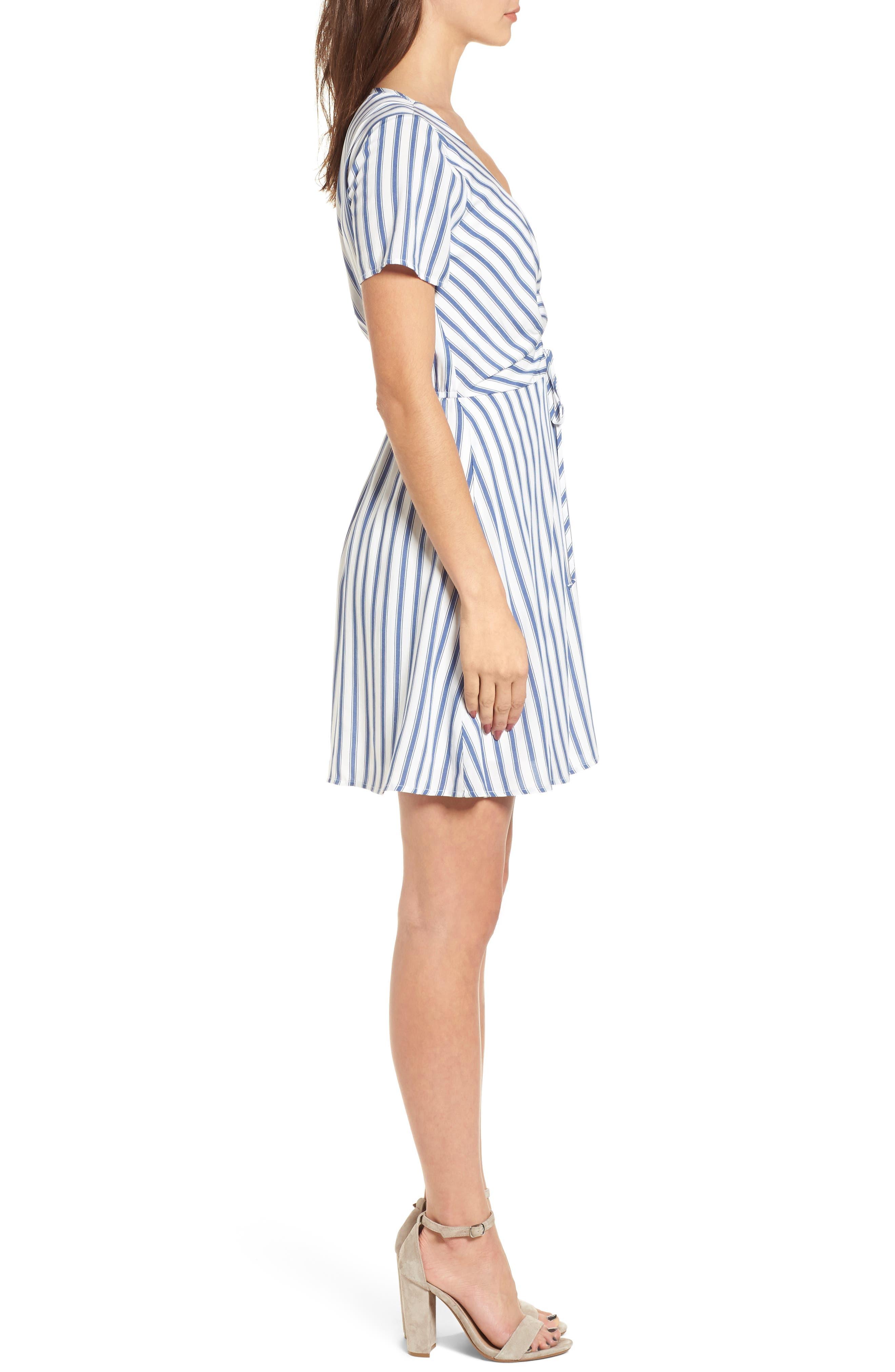 Cinch Front Minidress,                             Alternate thumbnail 3, color,                             Blue/ White Stripe