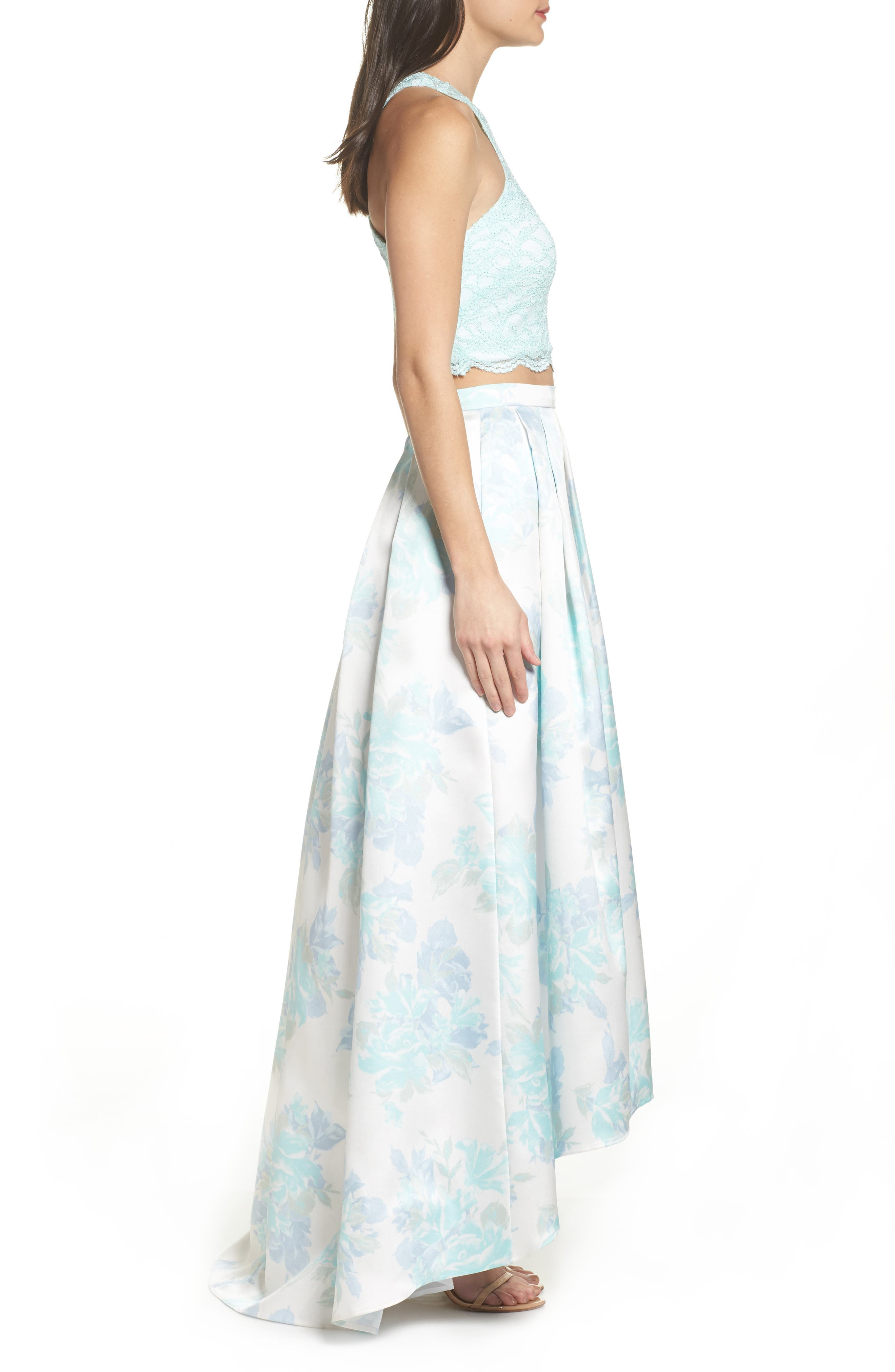 Two-Piece Lace High/Low Dress,                             Alternate thumbnail 3, color,                             Mint / Ivory