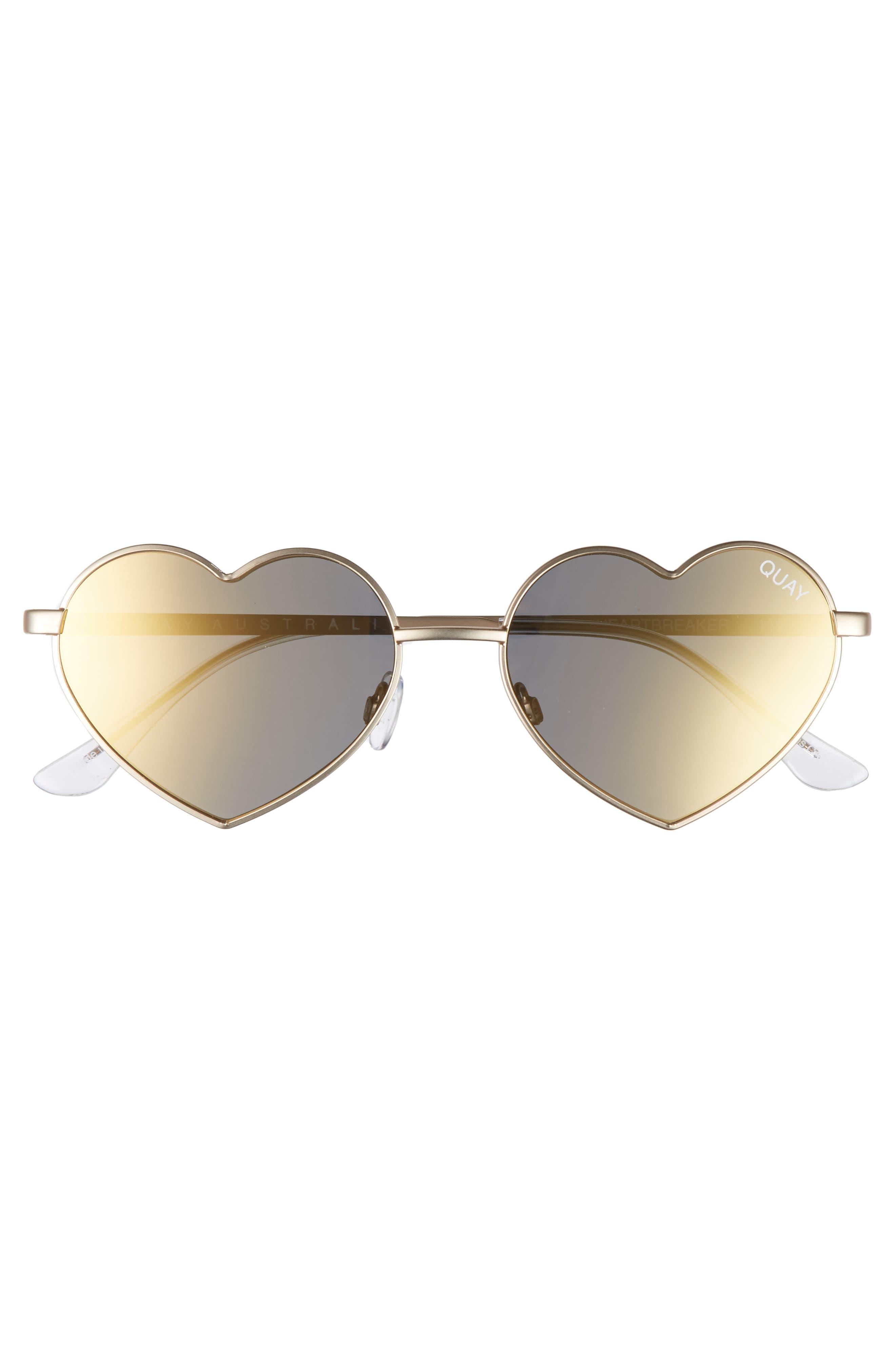 53mm Heart Breaker Heart-Shaped Sunglasses,                             Alternate thumbnail 5, color,                             Gold/ Gold