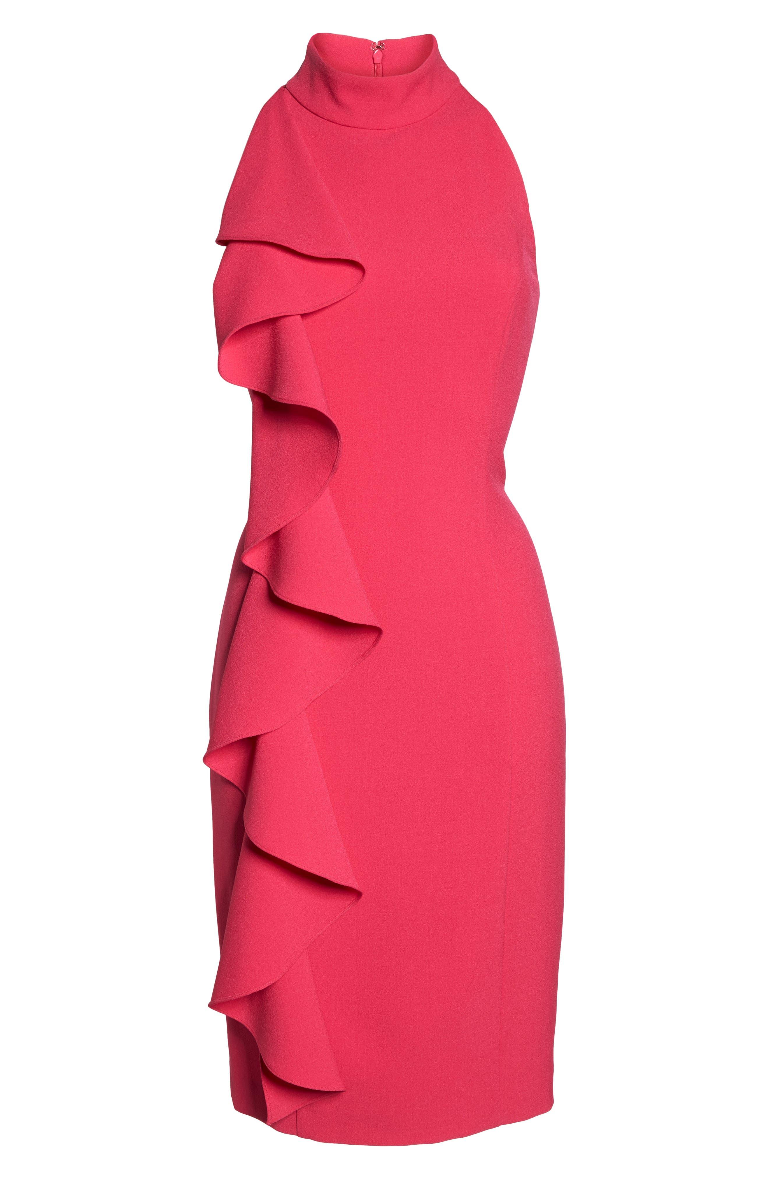 Ruffle Sheath Dress,                             Alternate thumbnail 7, color,                             Fuchsia