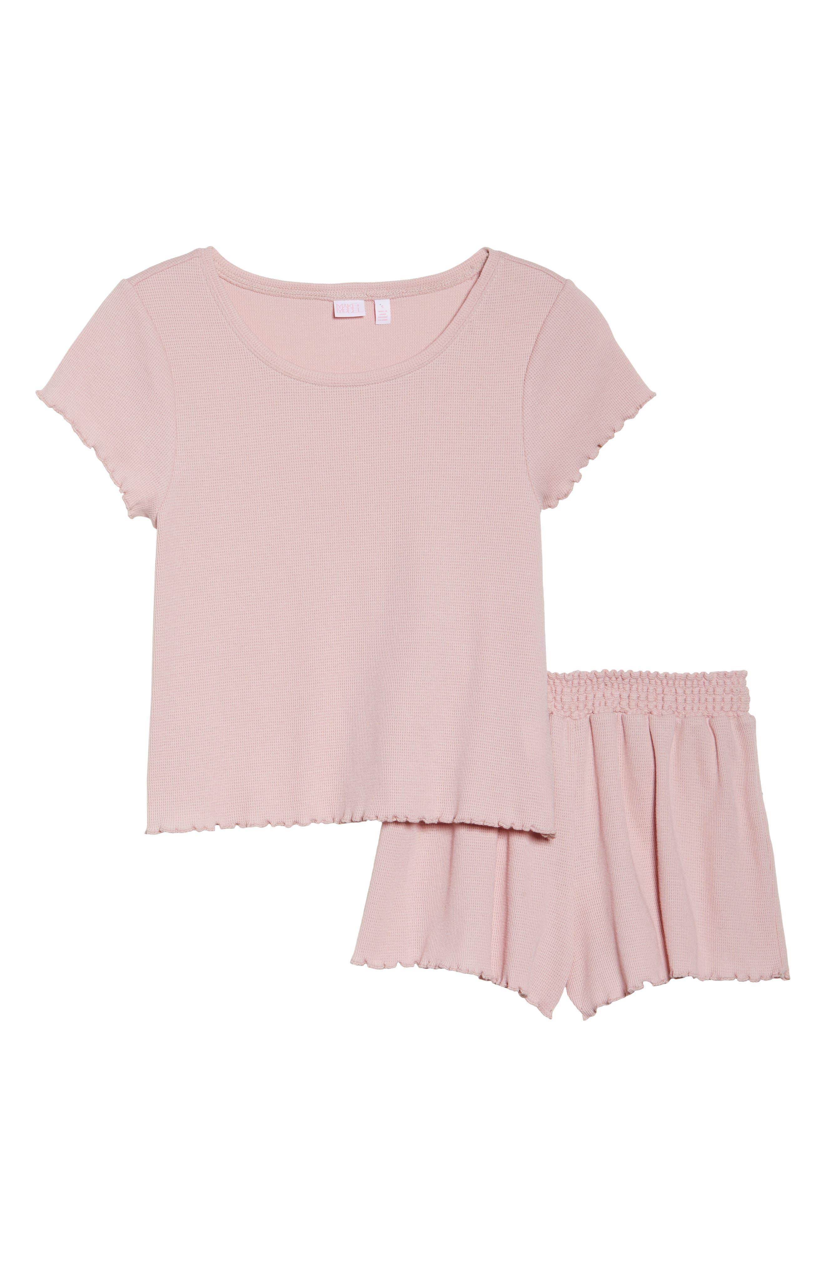 Thermal Short Pajamas,                             Alternate thumbnail 4, color,                             Pink Silver