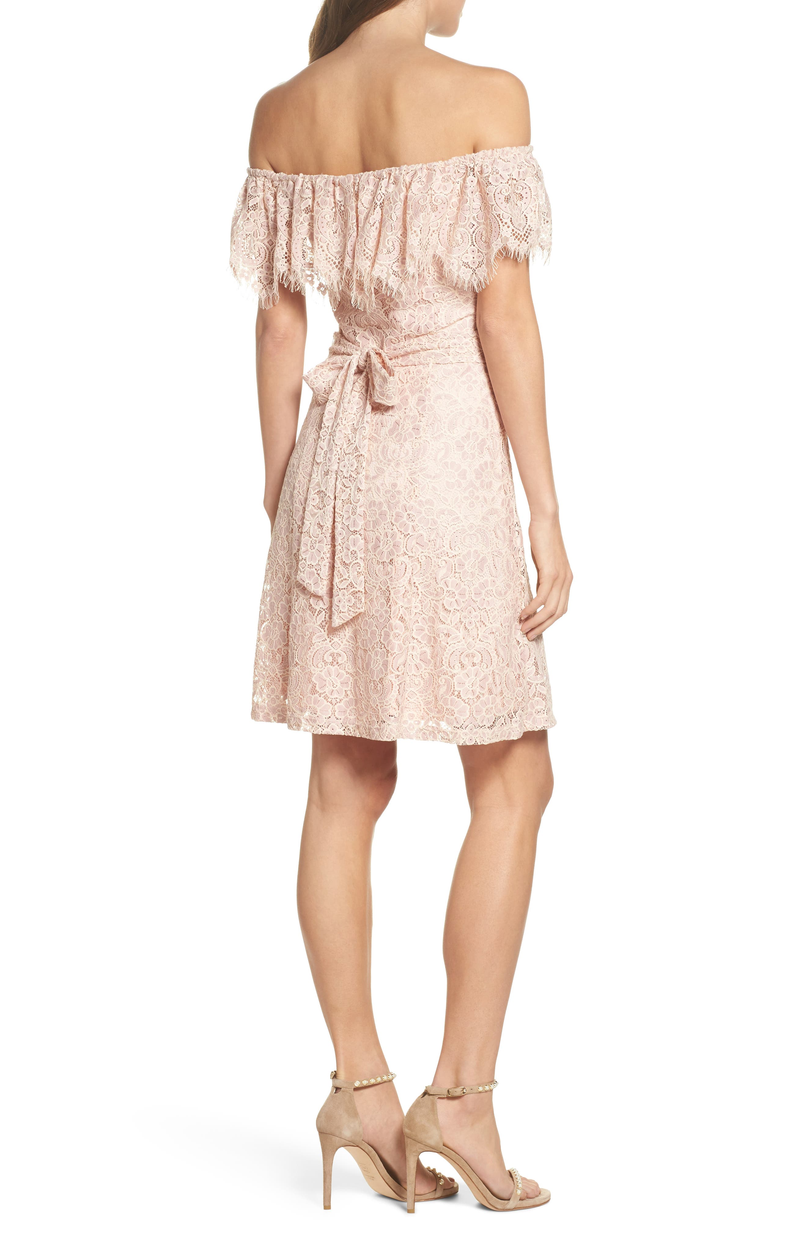 Off the Shoulder Lace Dress,                             Alternate thumbnail 2, color,                             Dusty Pink