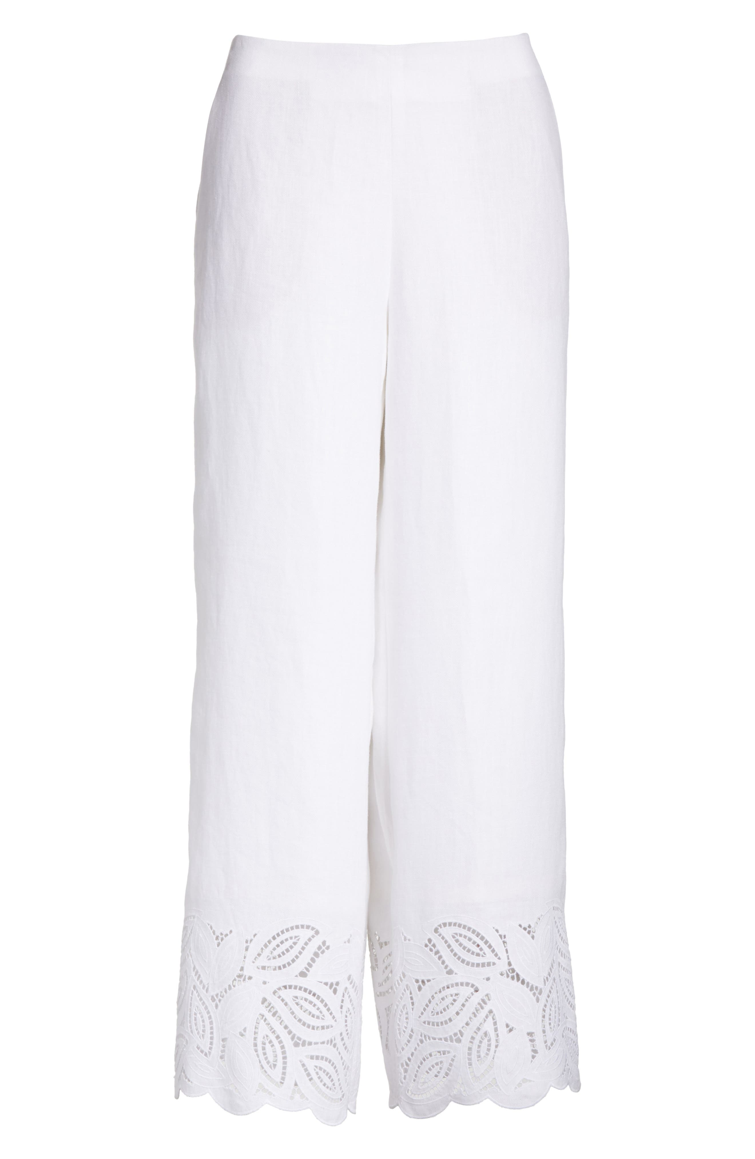 Morton Embroidered Pants,                             Alternate thumbnail 6, color,                             White