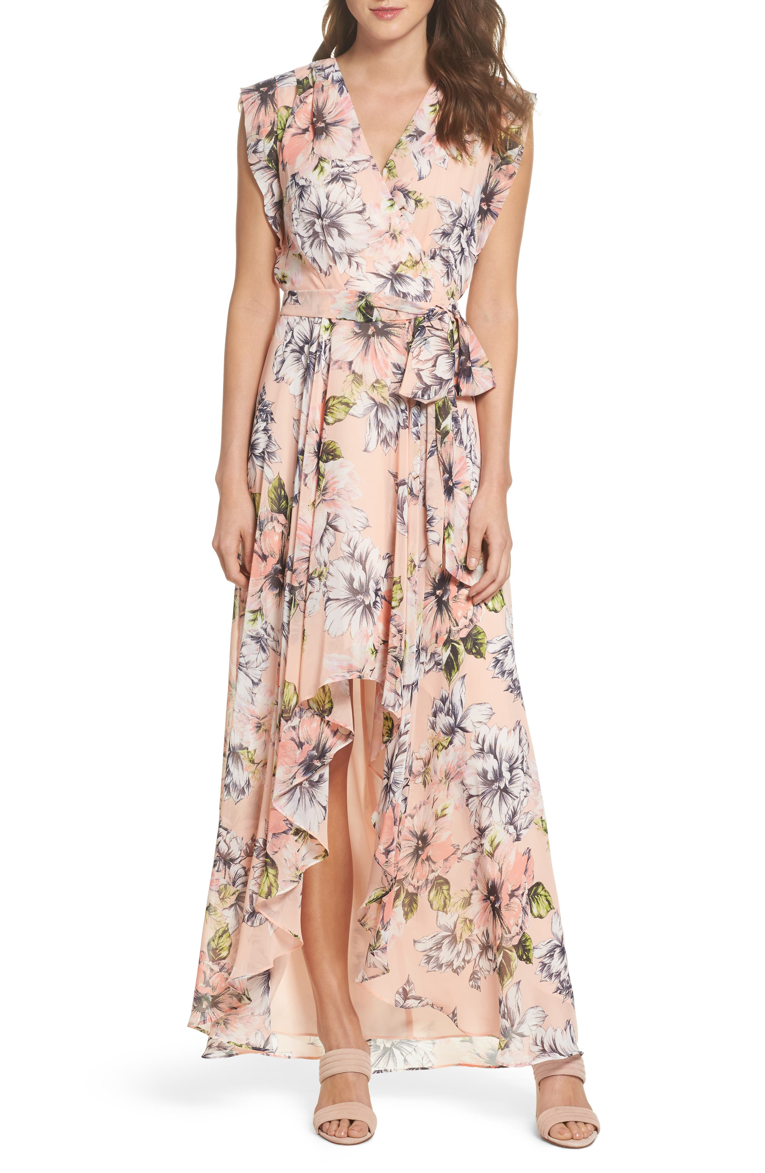 Floral Ruffle High/Low Maxi Dress,                             Main thumbnail 1, color,                             Blush