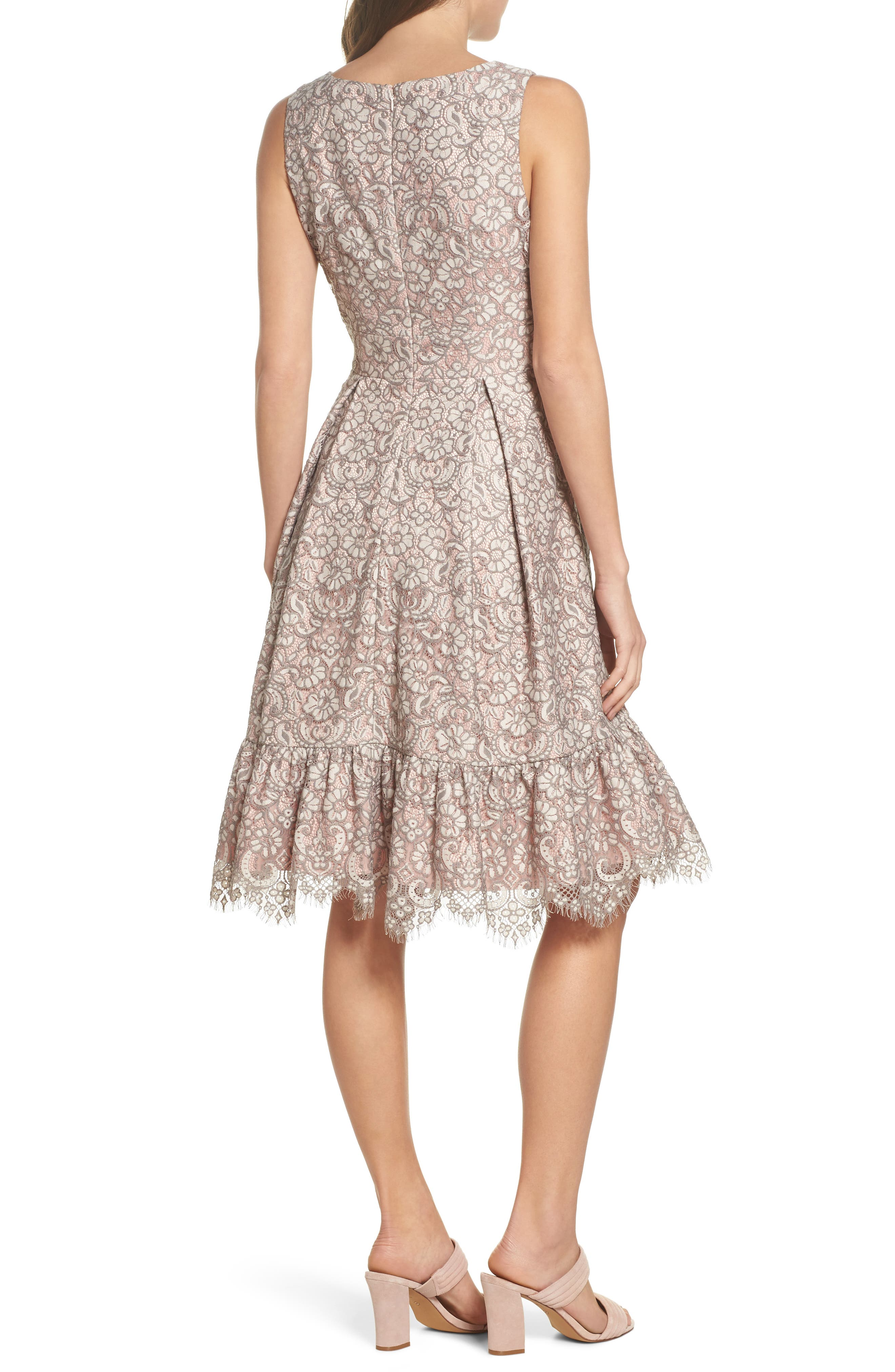 Lace Fit & Flare Dress,                             Alternate thumbnail 2, color,                             Grey
