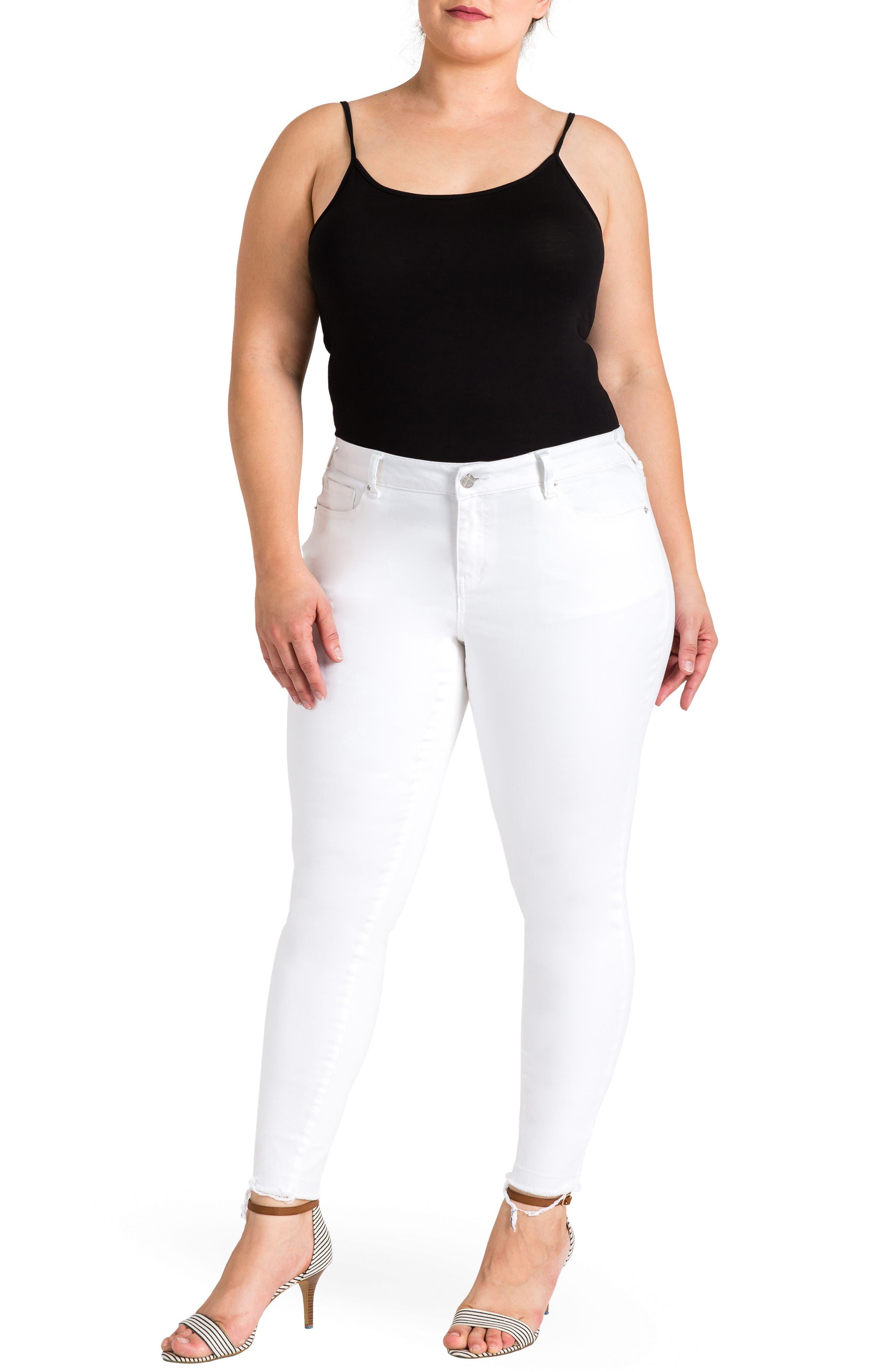 Virginia Ankle Skinny Jeans,                             Alternate thumbnail 4, color,                             3087Powderwt - White