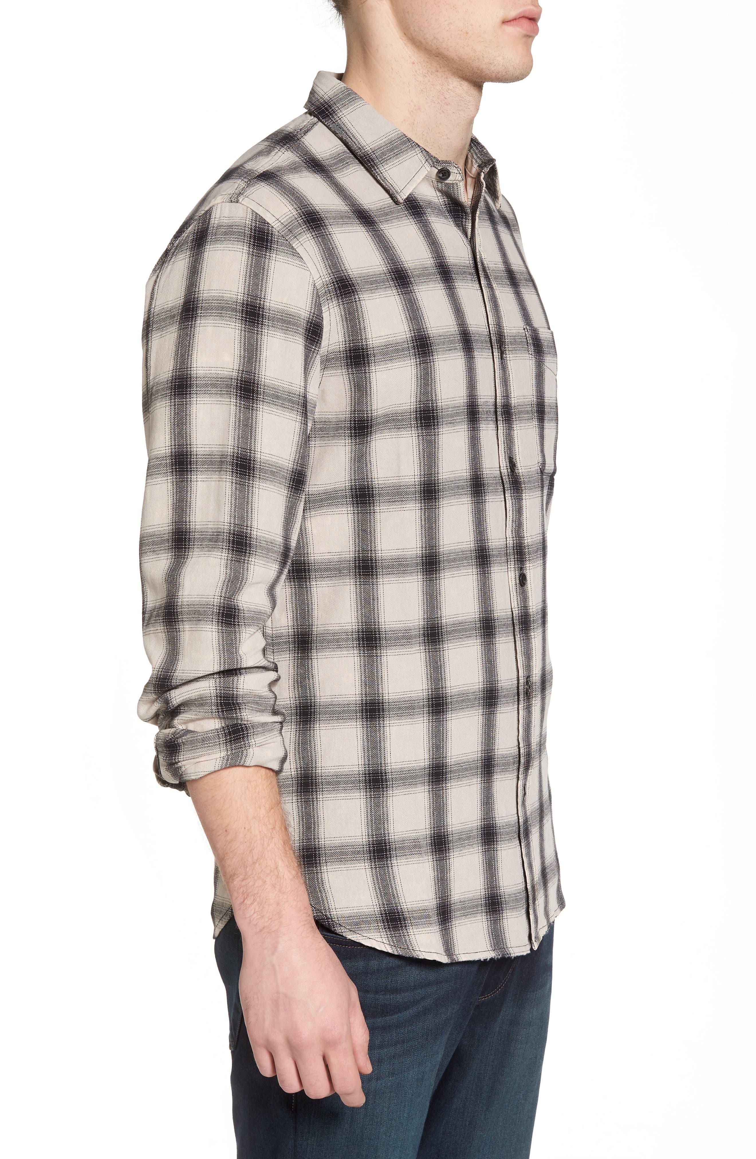 Colton Slim Fit Plaid Sport Shirt,                             Alternate thumbnail 3, color,                             15 Years Mineral Veil/ Black