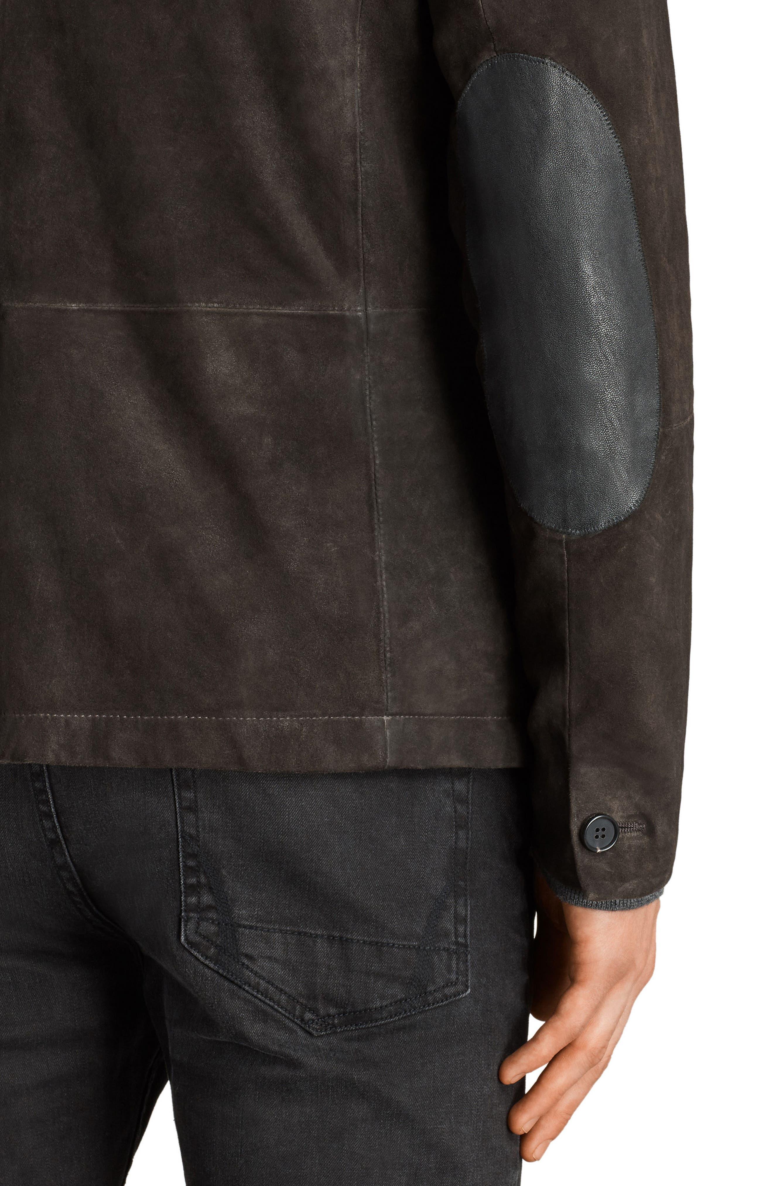 Survey Leather Blazer,                             Alternate thumbnail 4, color,                             Anthracite Grey