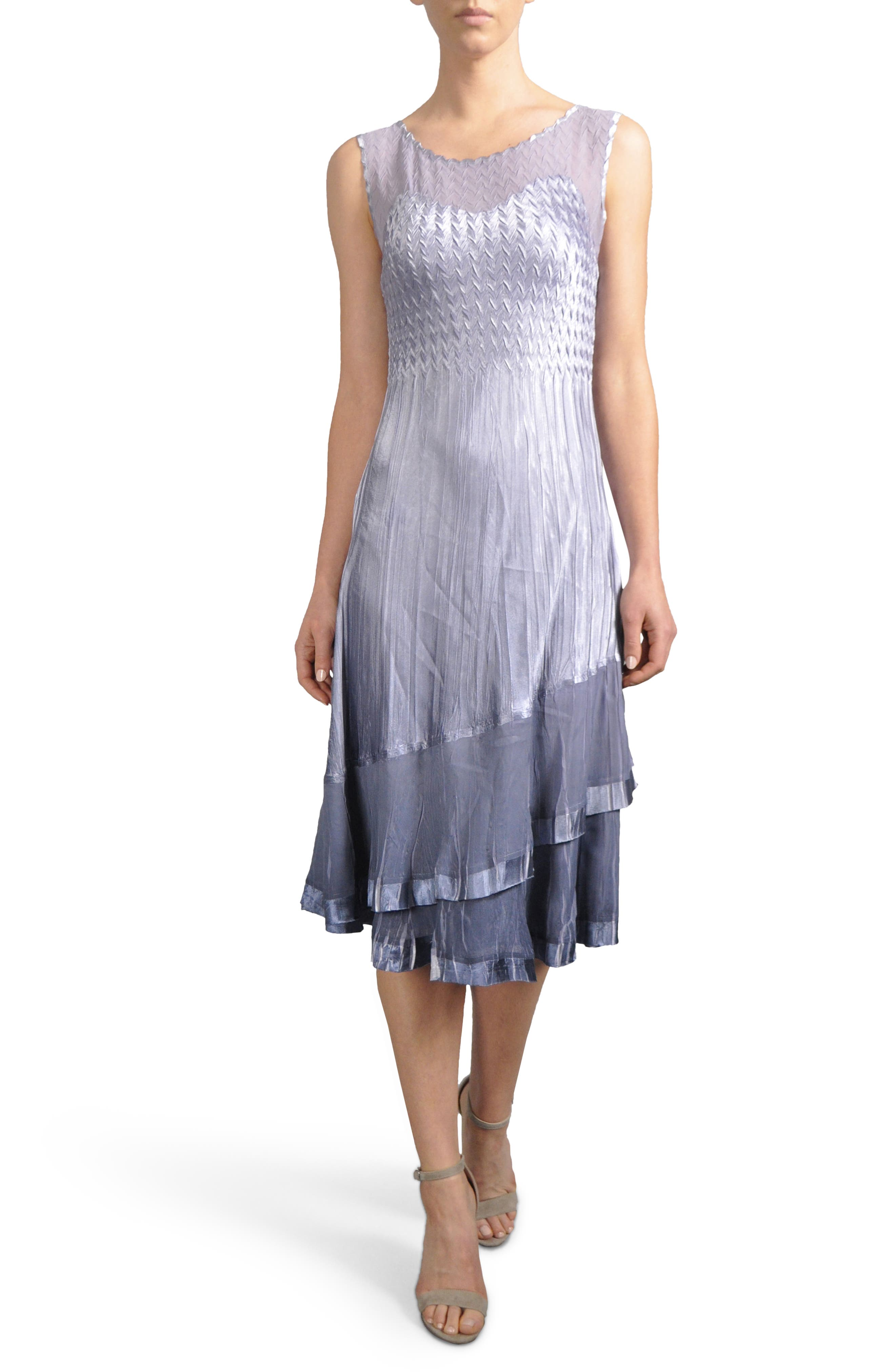 Charmeuse & Chiffon Midi Dress with Jacket,                             Alternate thumbnail 3, color,                             Lavendar Grey Blue Ombre