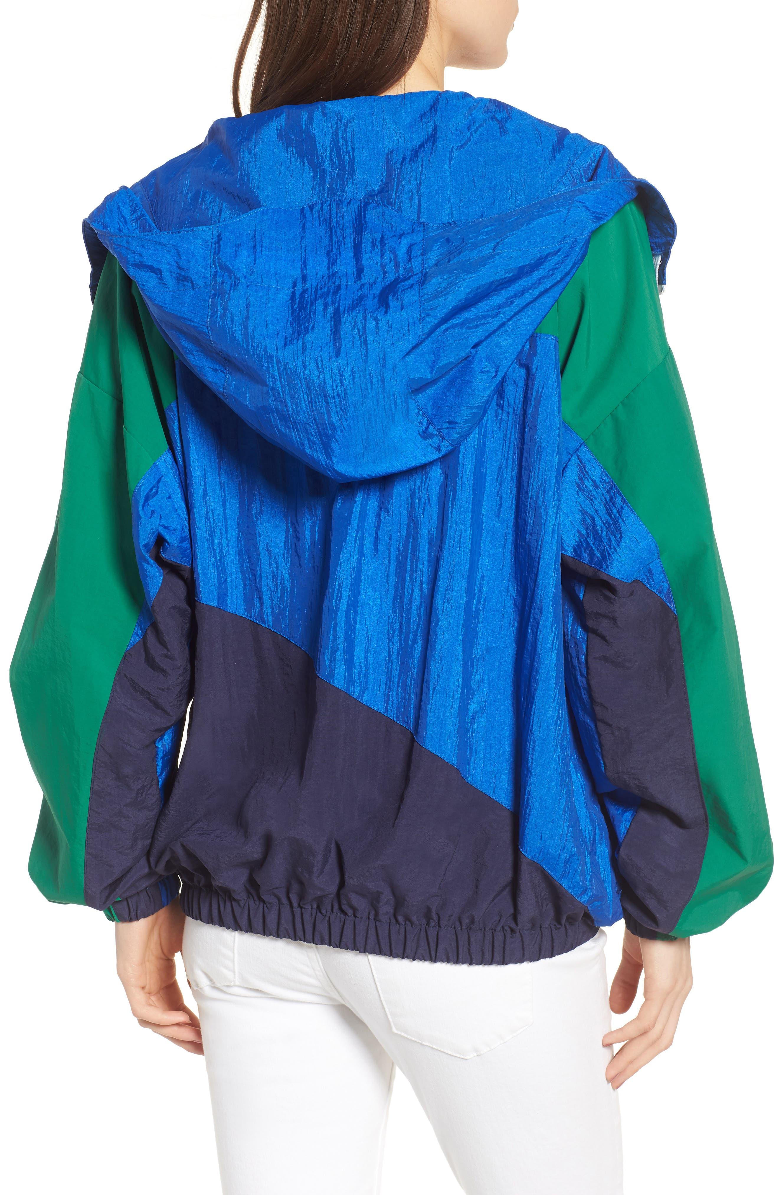 Colorblock Windbreaker Jacket,                             Alternate thumbnail 3, color,                             Green/ Blue