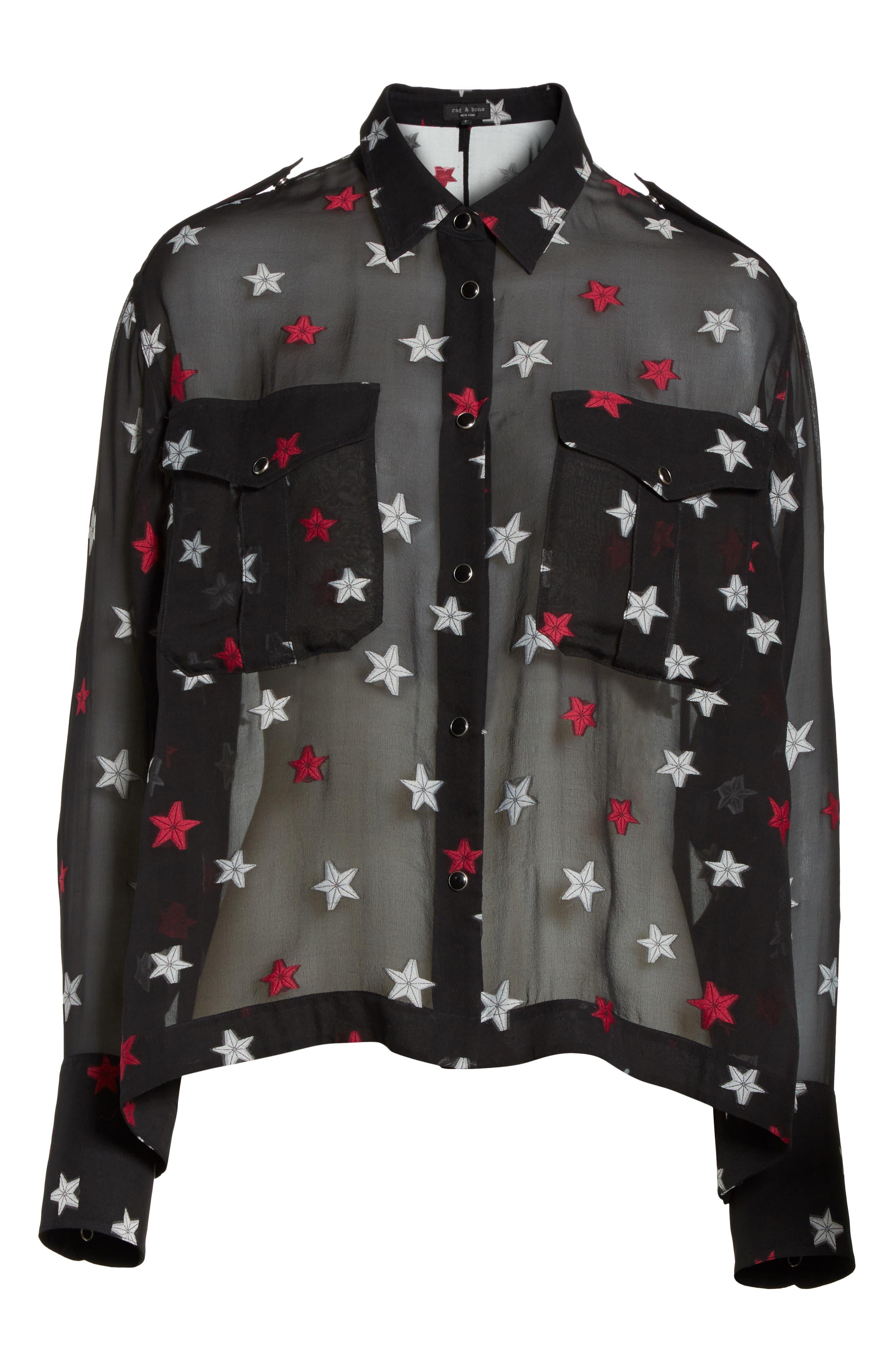 Pearson Star Print Silk Blend Shirt,                             Alternate thumbnail 7, color,                             Black Multi