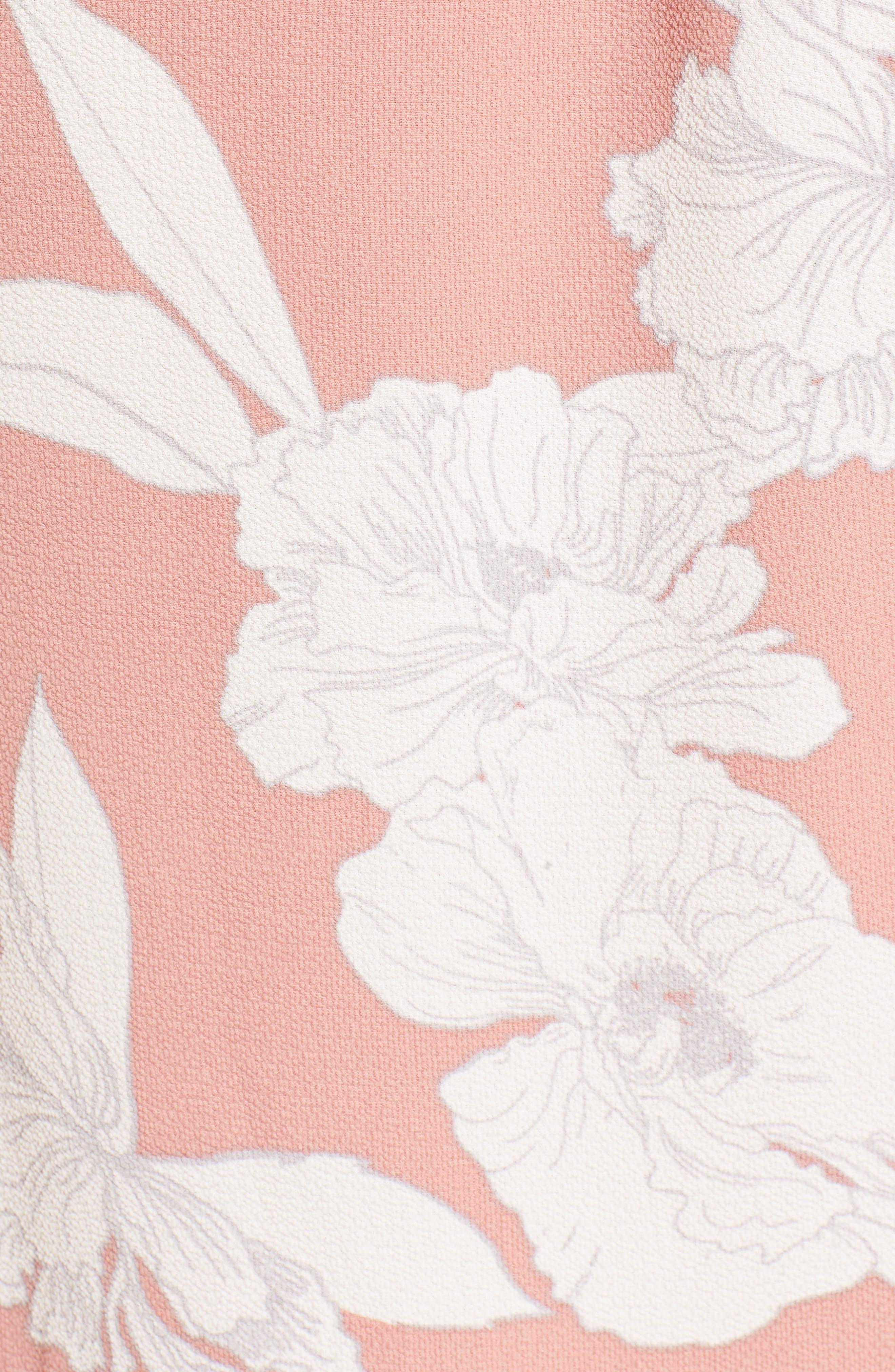 Ruffle Wrap Dress,                             Alternate thumbnail 5, color,                             Blush/ Ivory