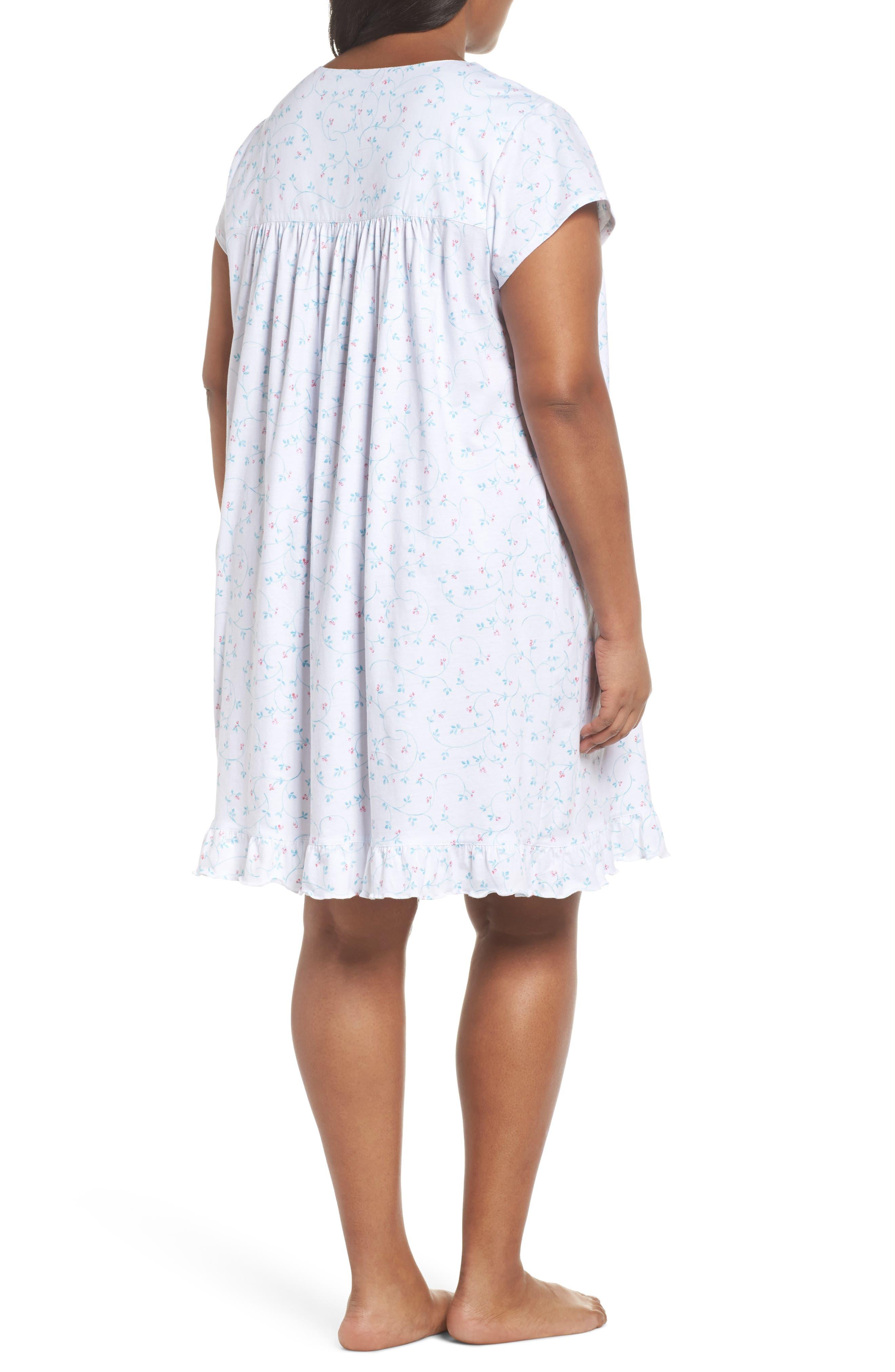 Cotton Jersey Short Nightgown,                             Alternate thumbnail 2, color,                             White Aqua/ Pink Berries