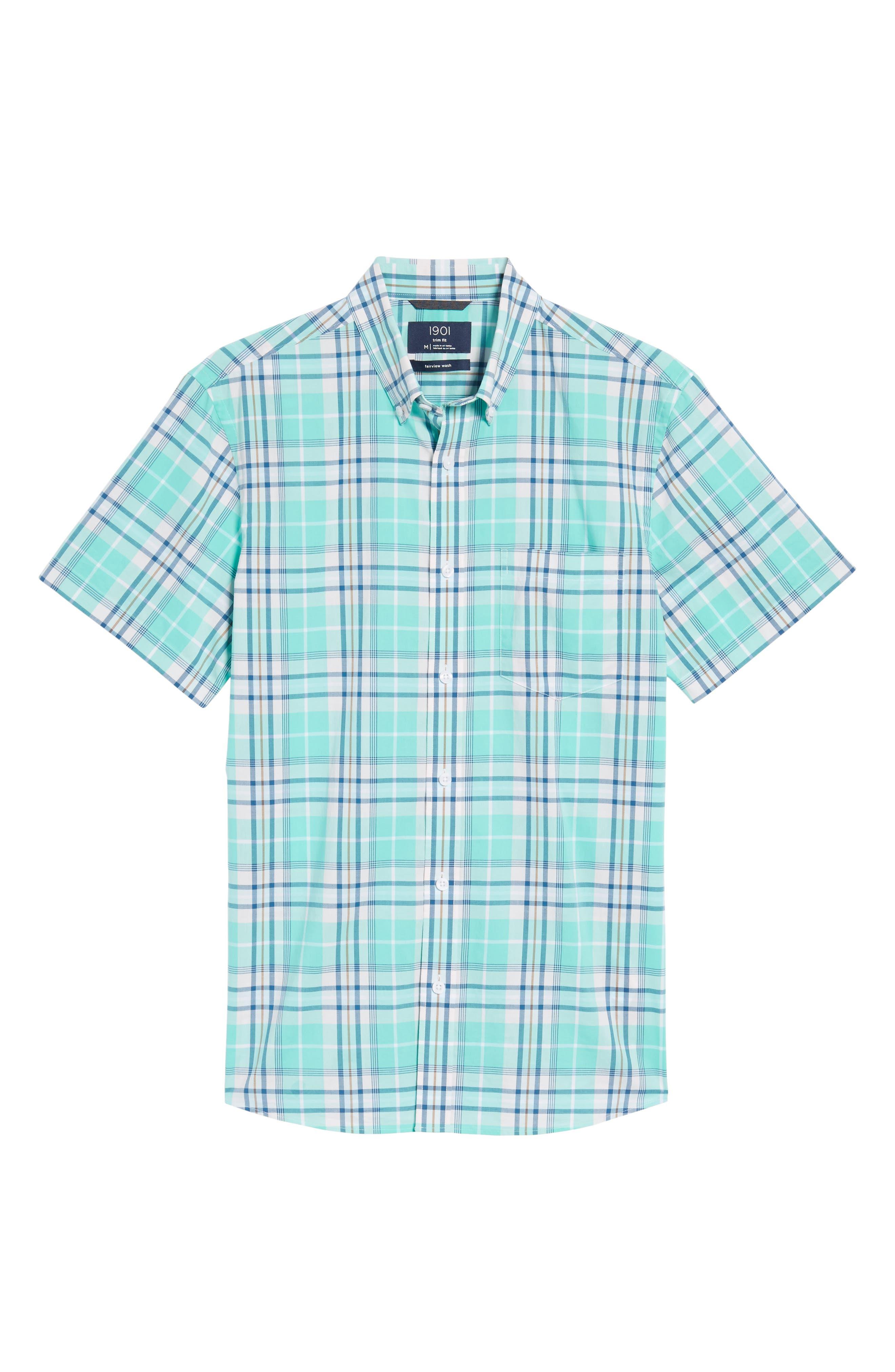 Trim Fit Tartan Stretch Sport Shirt,                             Alternate thumbnail 6, color,                             Green Largo Tartan