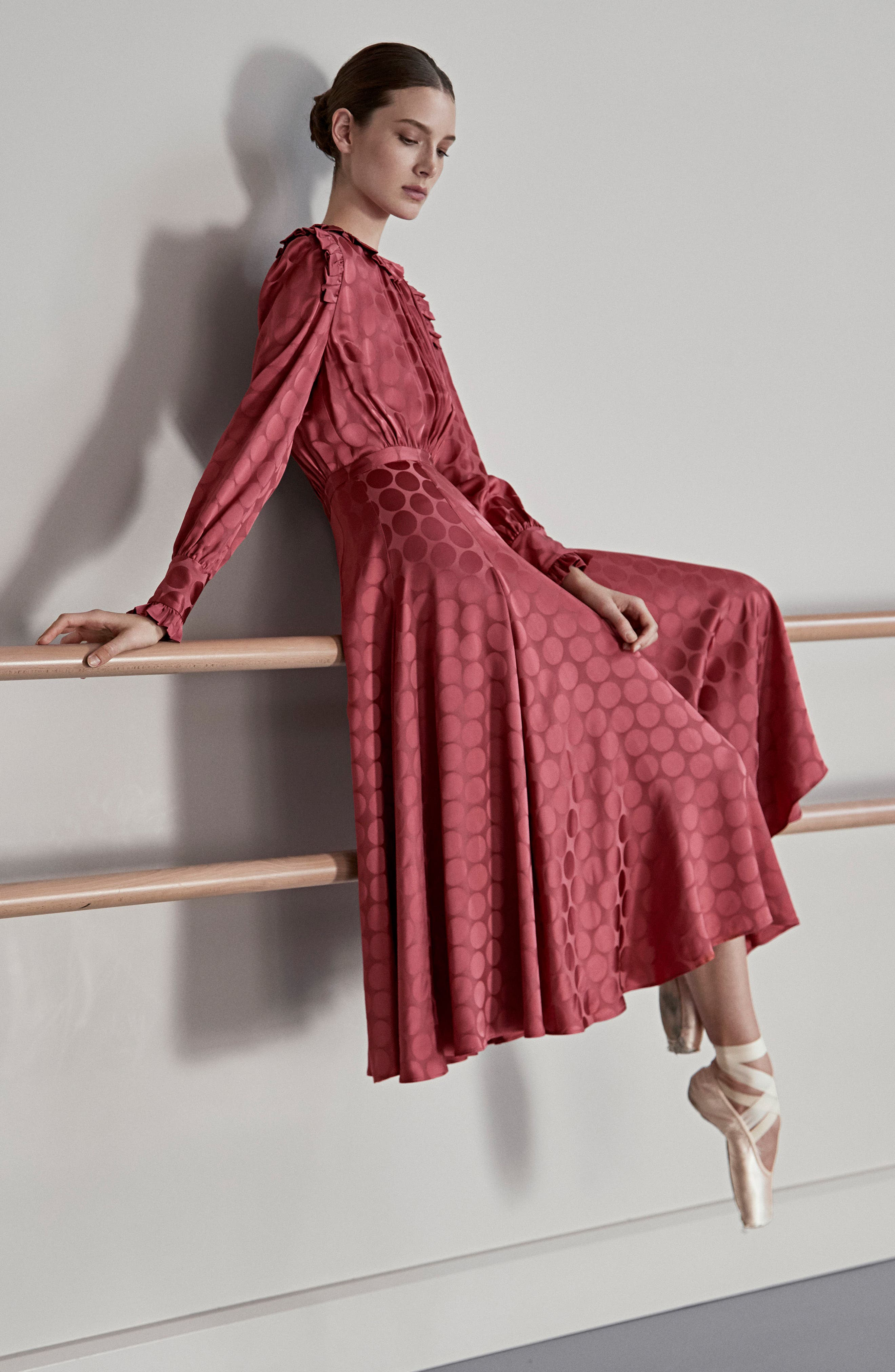 Tonal Dot Tie Neck Midi Dress,                             Alternate thumbnail 7, color,                             Coral