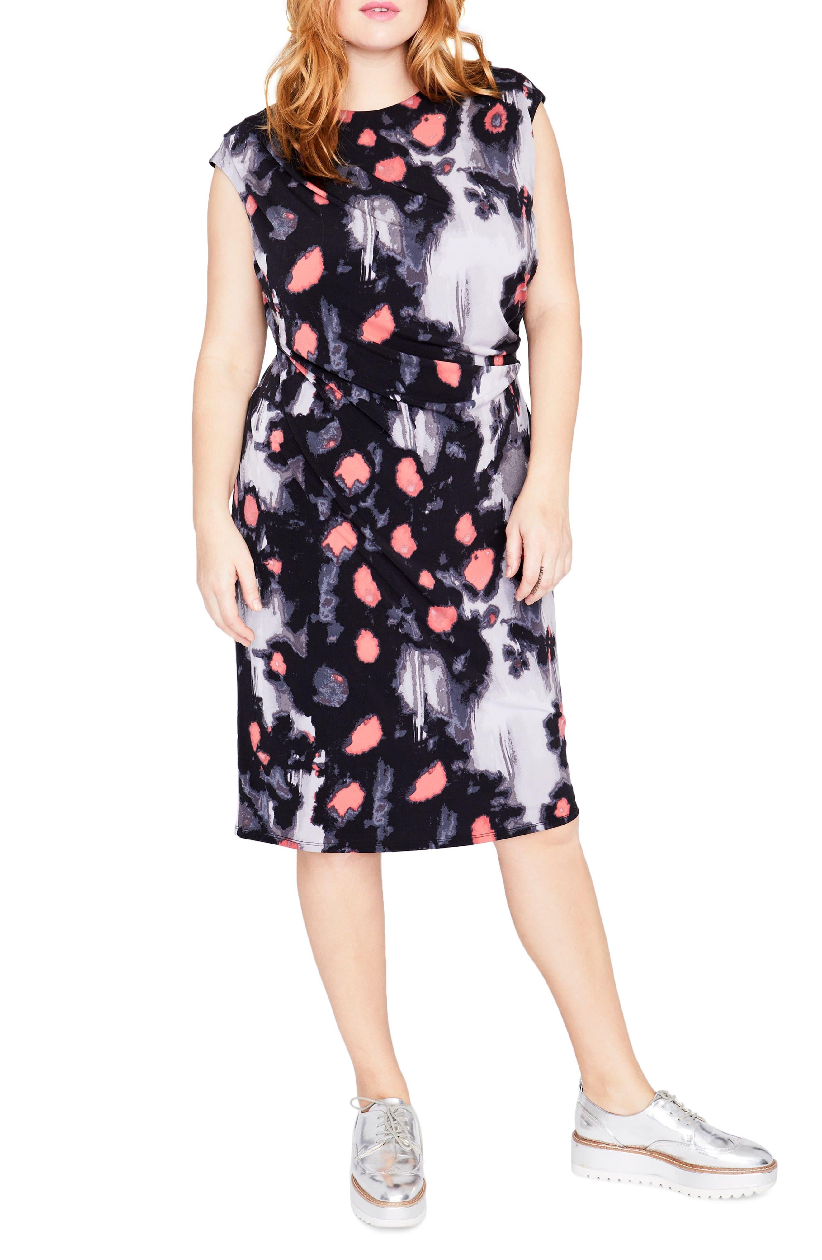 Floral Print Draped Dress,                             Main thumbnail 1, color,                             Black Combo