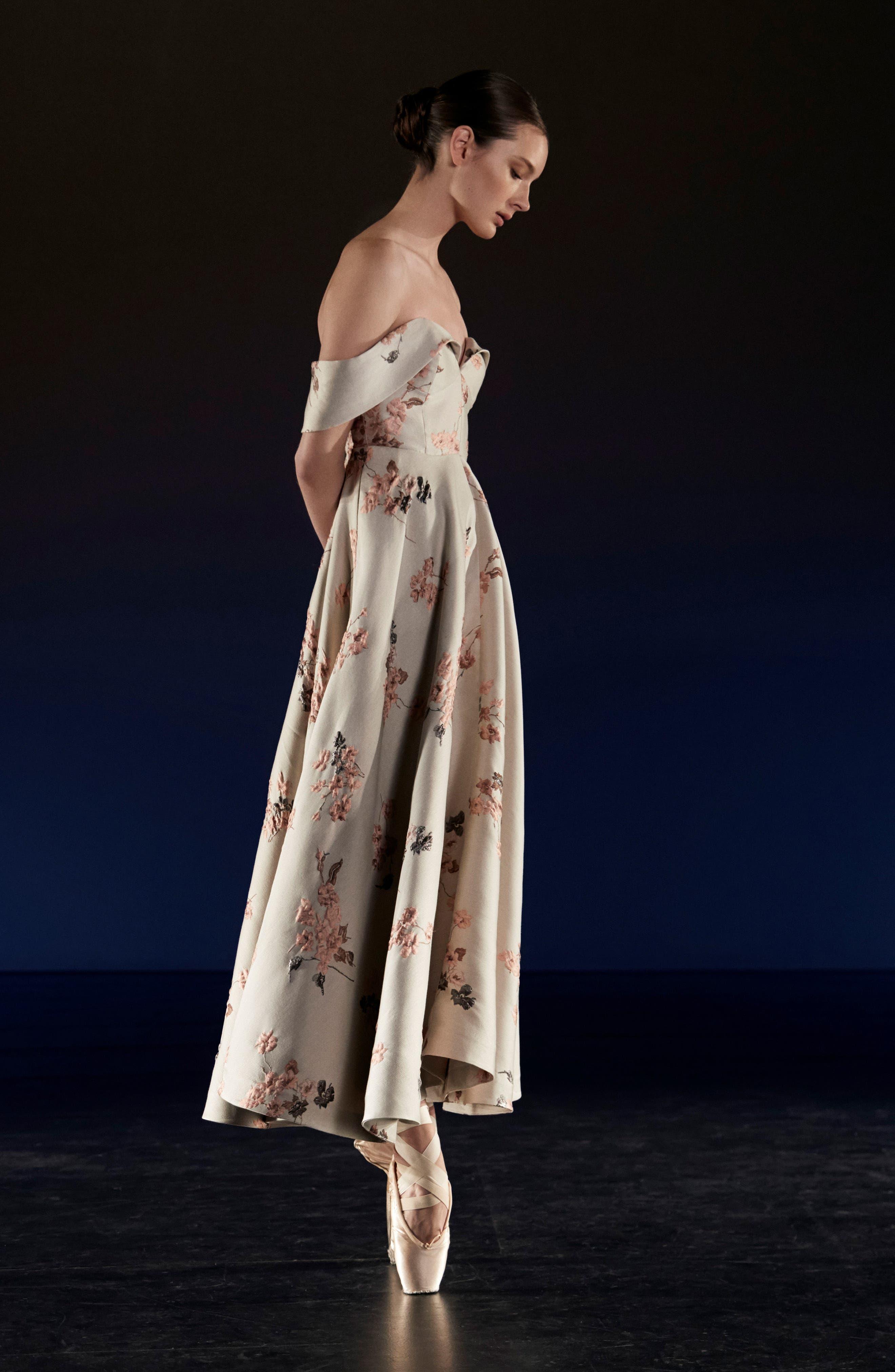 Metallic Floral Jacquard Off the Shoulder Dress,                             Alternate thumbnail 2, color,                             Beige/ Pink