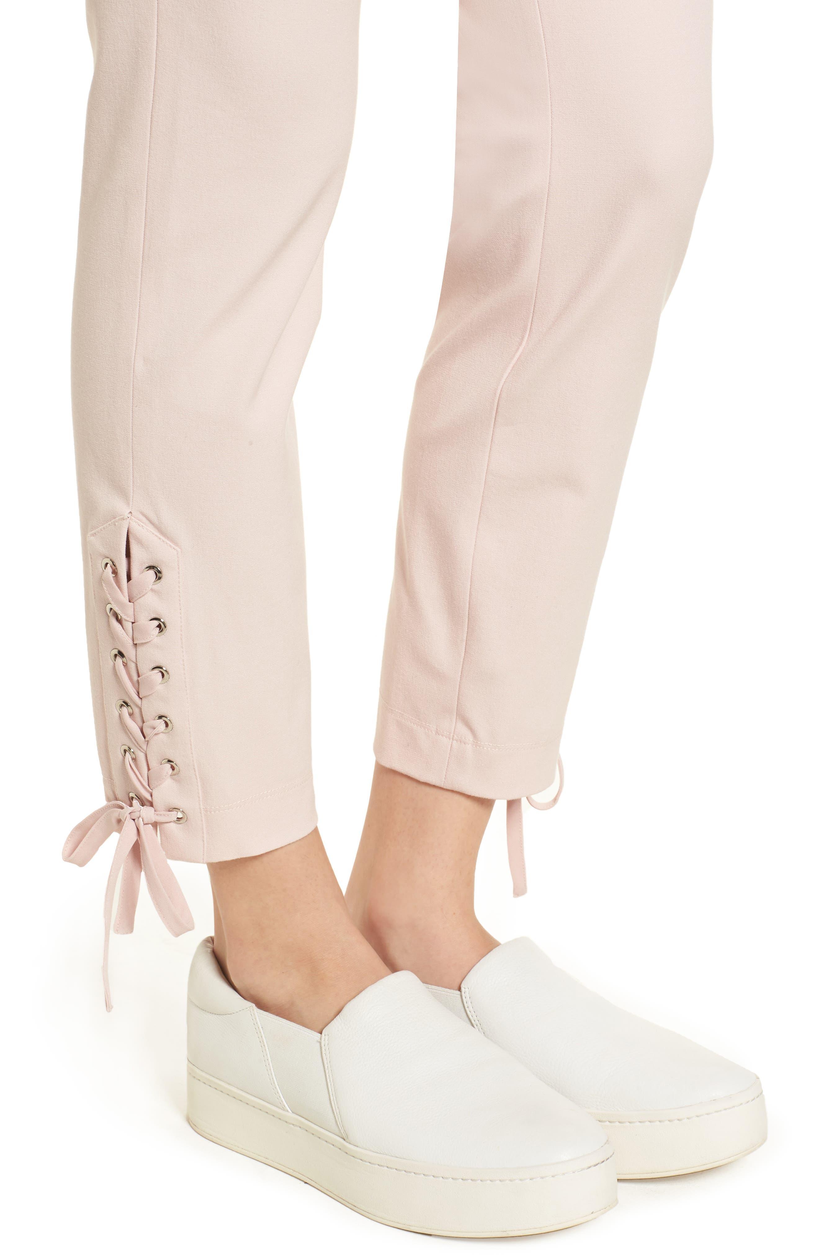 Lace-Up Ankle Leggings,                             Alternate thumbnail 4, color,                             Blush