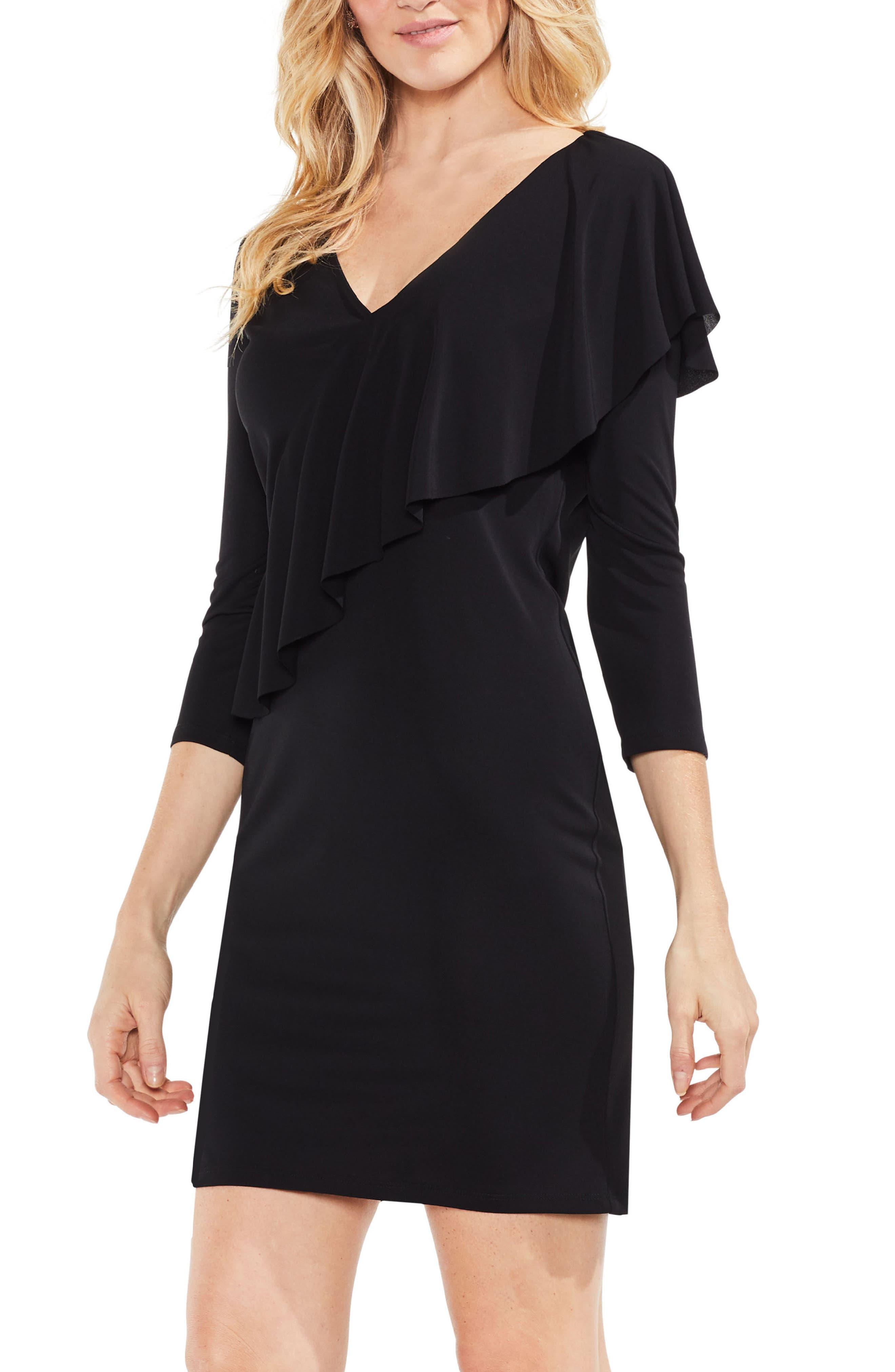 Asymmetrical Ruffle Drape Front Dress,                         Main,                         color, Rich Black