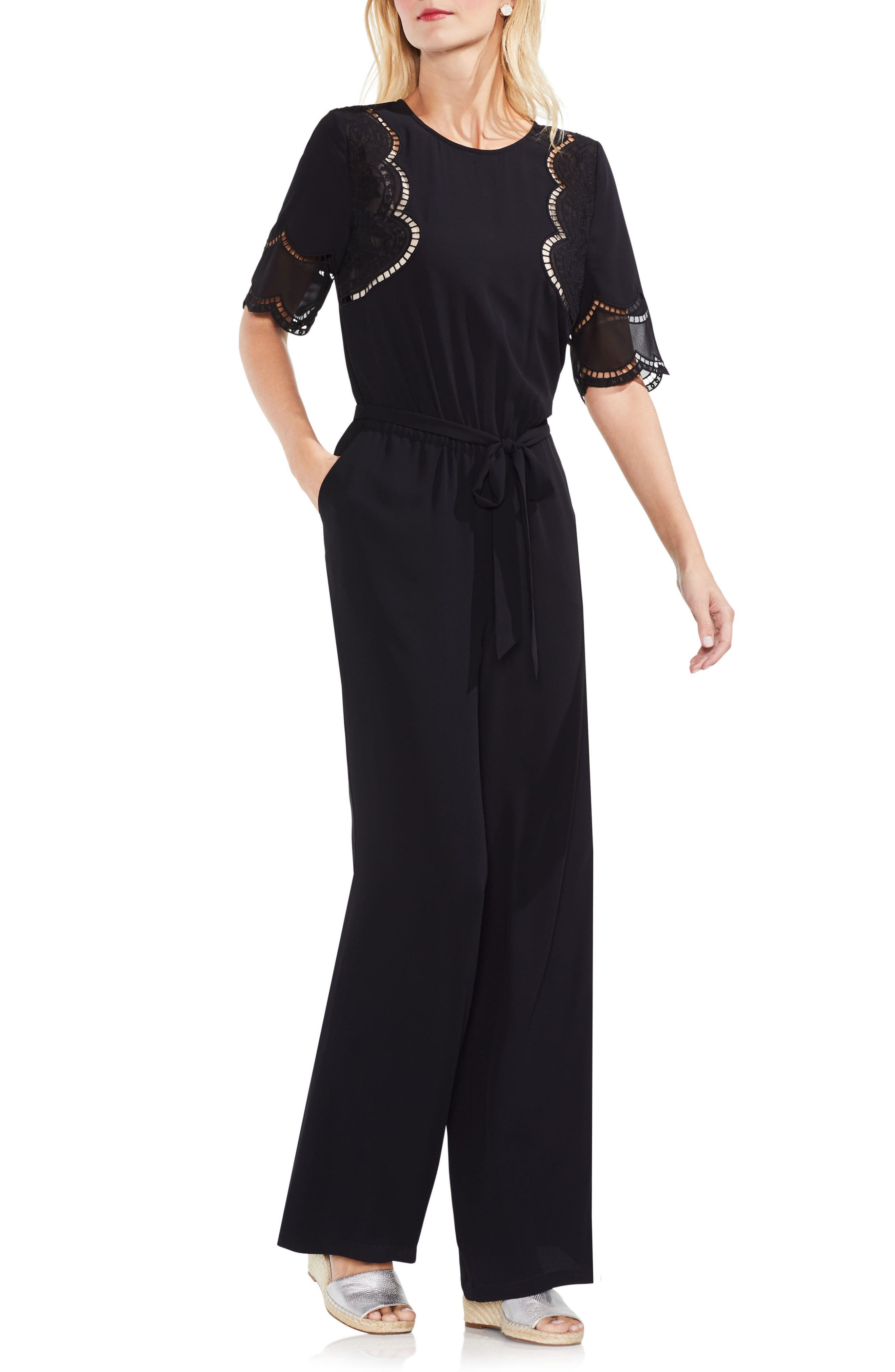 Embroidered Belted Jumpsuit,                             Main thumbnail 1, color,                             Rich Black