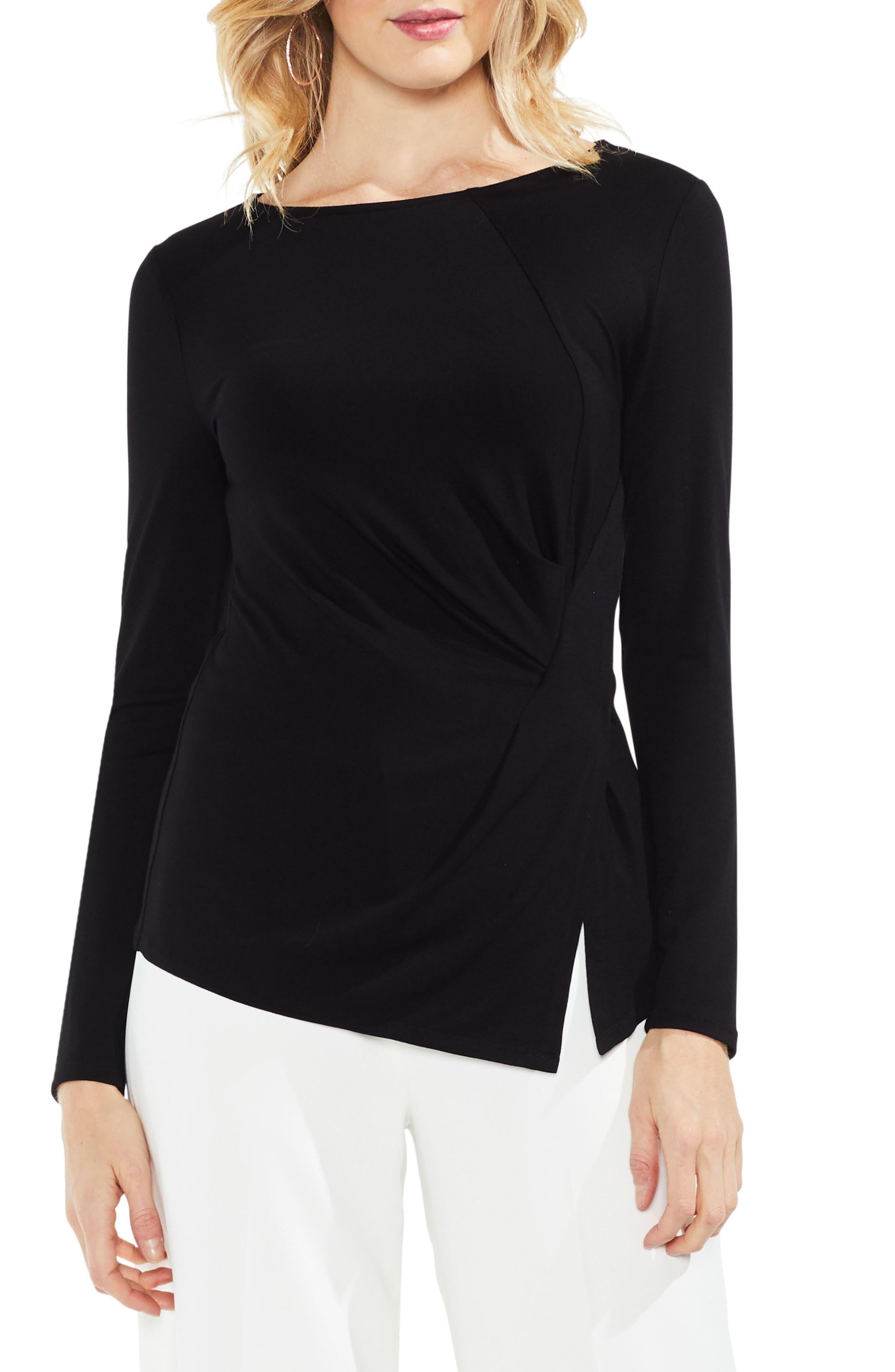 Asymmetrical Hem Twist Top,                         Main,                         color, Rich Black