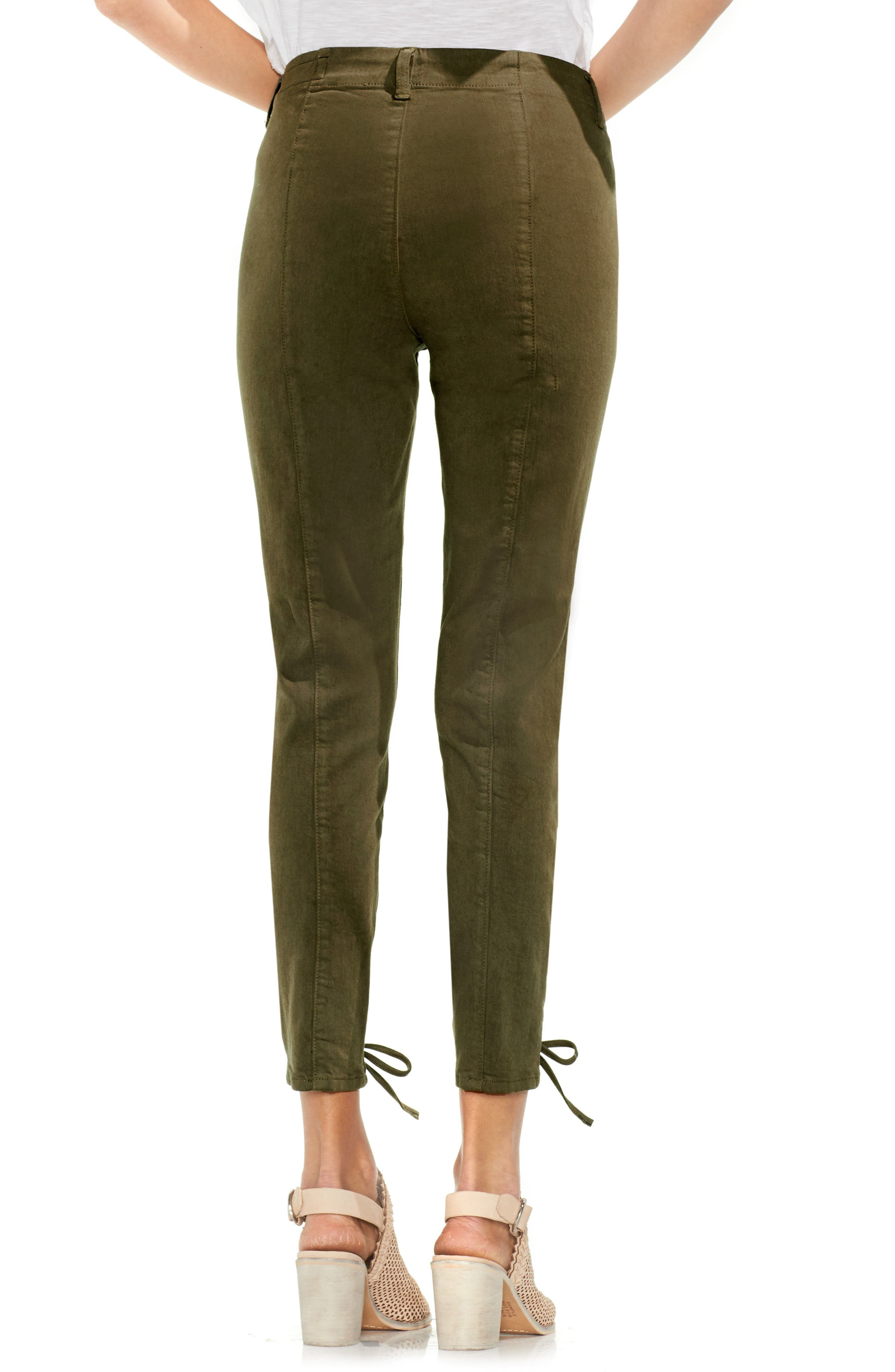 Lace-Up Cuff D-Luxe Pants,                             Alternate thumbnail 3, color,                             Legion Green
