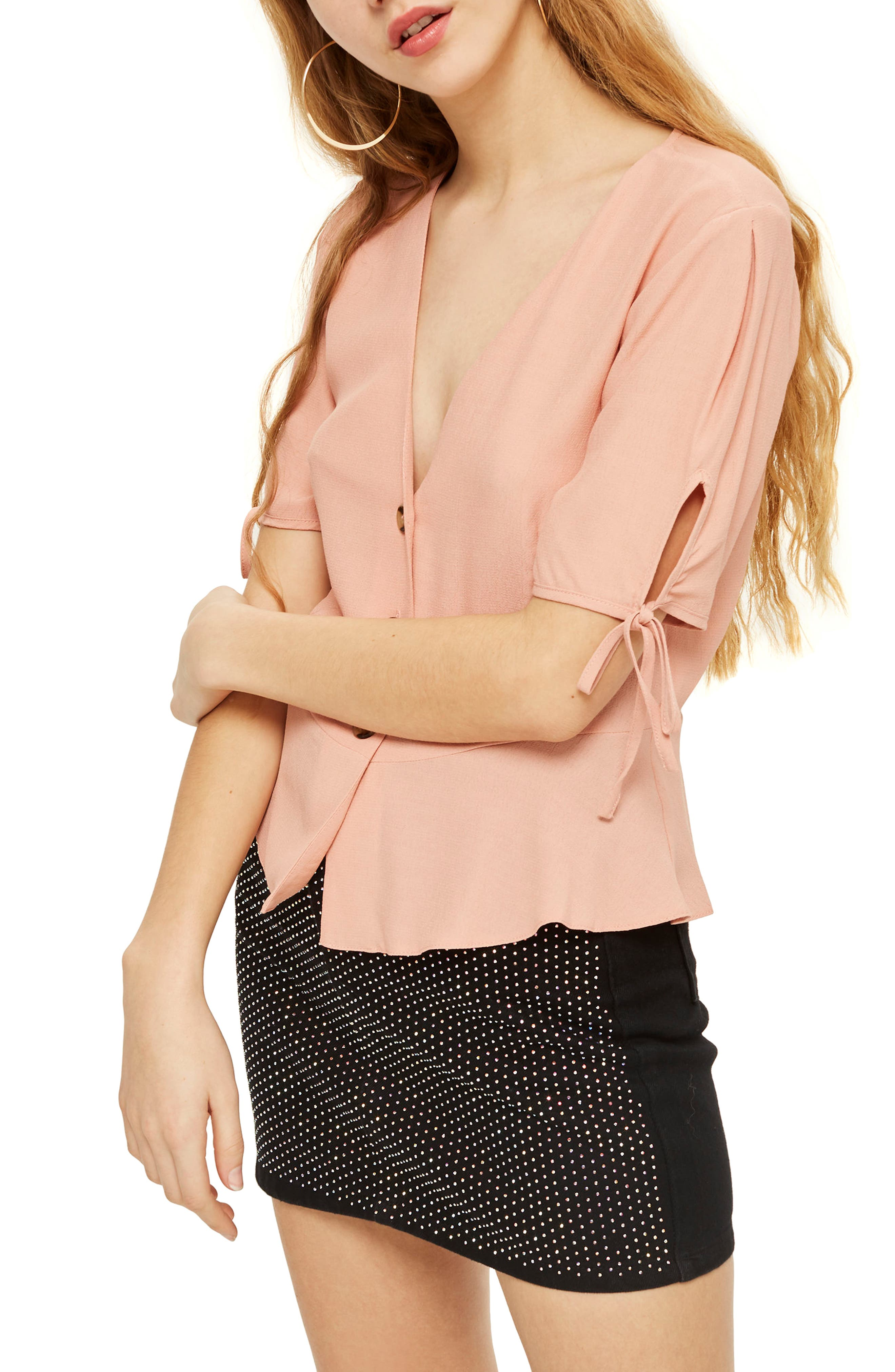 Alternate Image 1 Selected - Topshop Tie Cuff Blouse