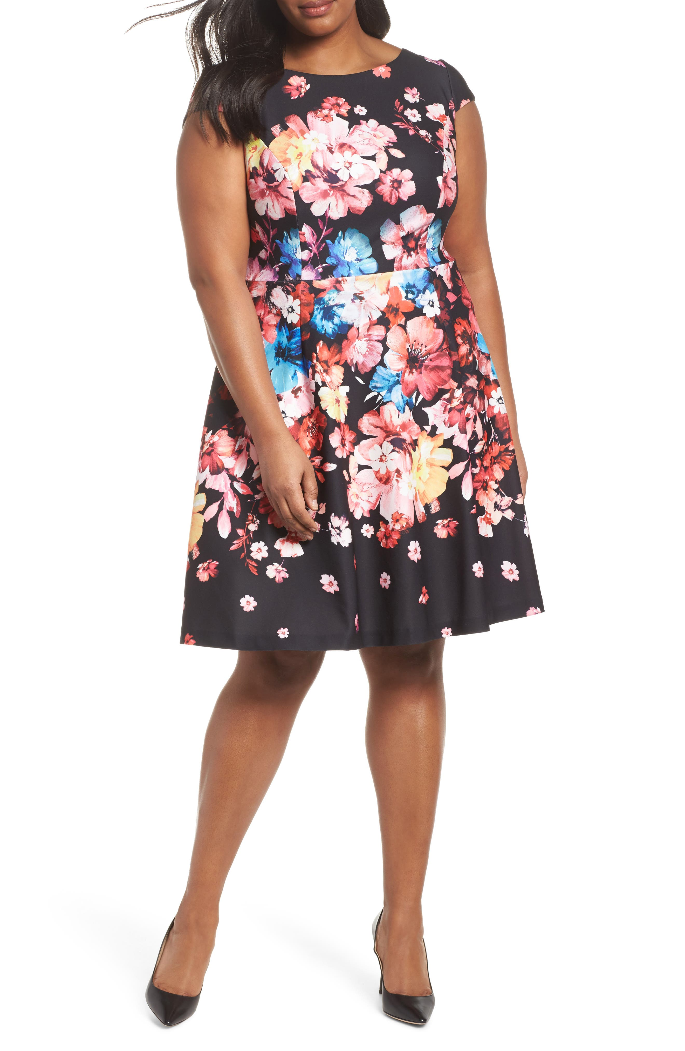 Spring In Bloom Fit & Flare Dress,                             Main thumbnail 1, color,                             Black Multi