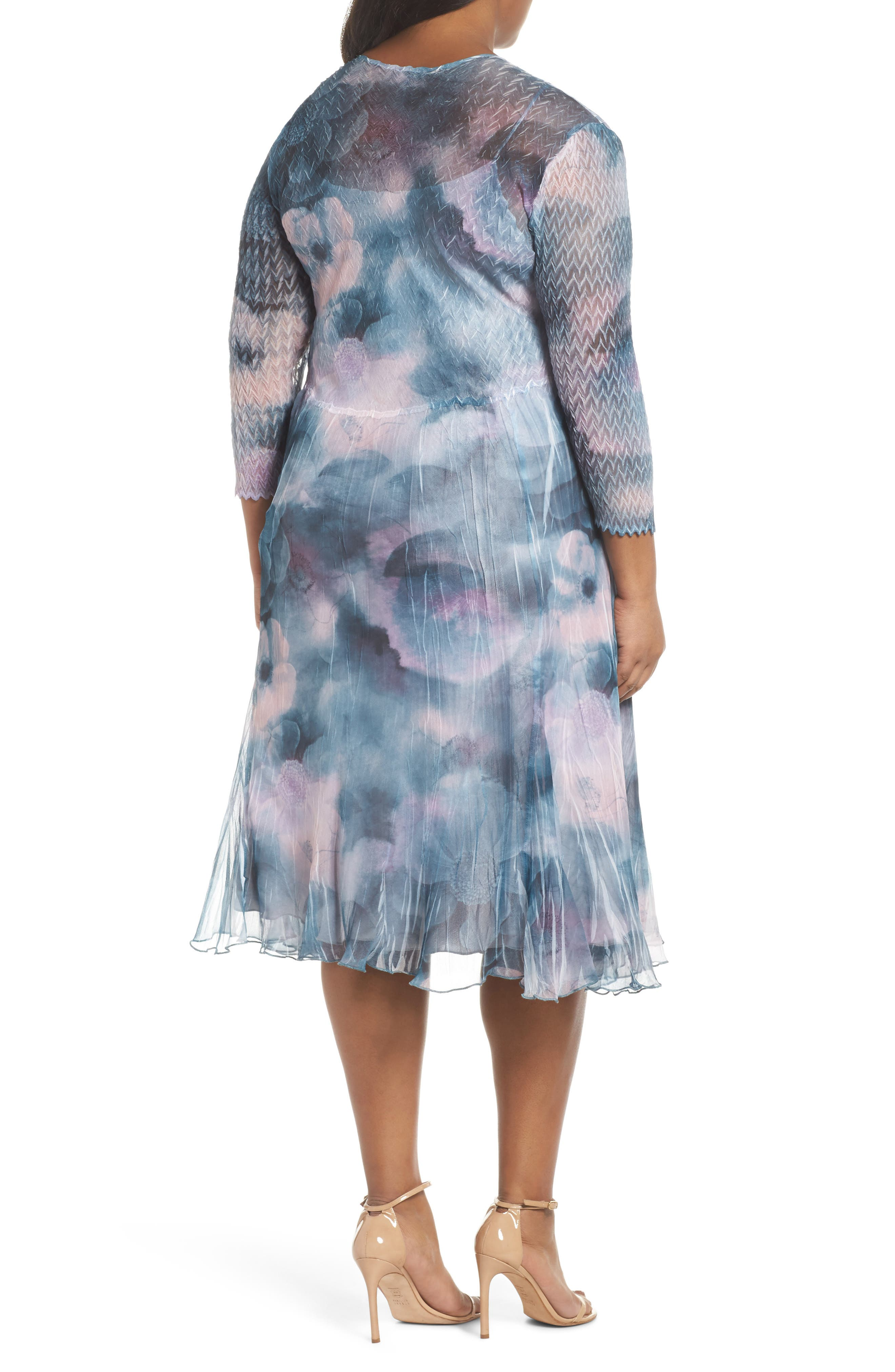 Floral Charmeuse & Chiffon A-Line Dress,                             Alternate thumbnail 2, color,                             Everglade Sky