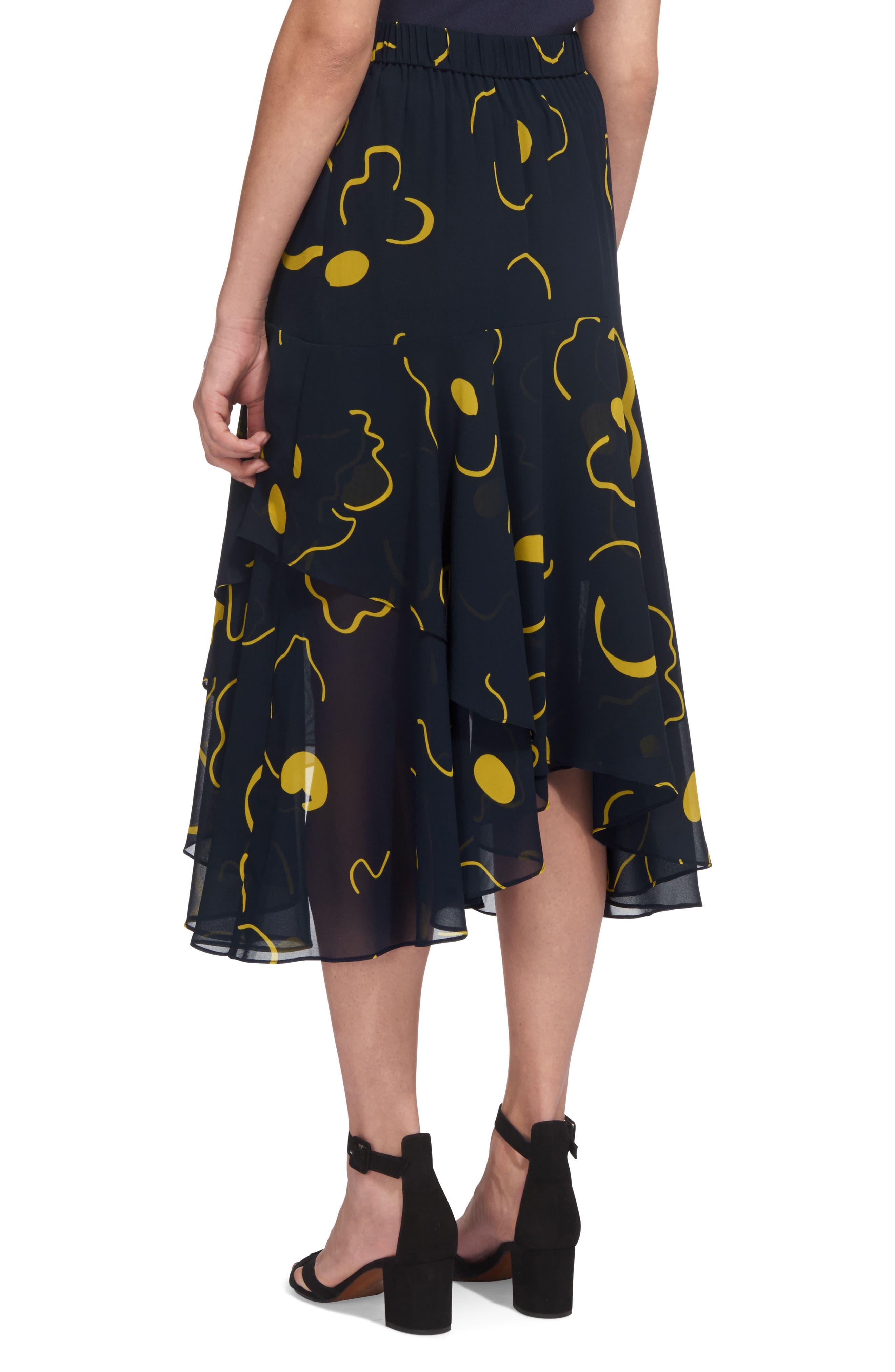 Billie Magnolia Print Asymmetrical Skirt,                             Alternate thumbnail 3, color,                             Navy/ Yellow