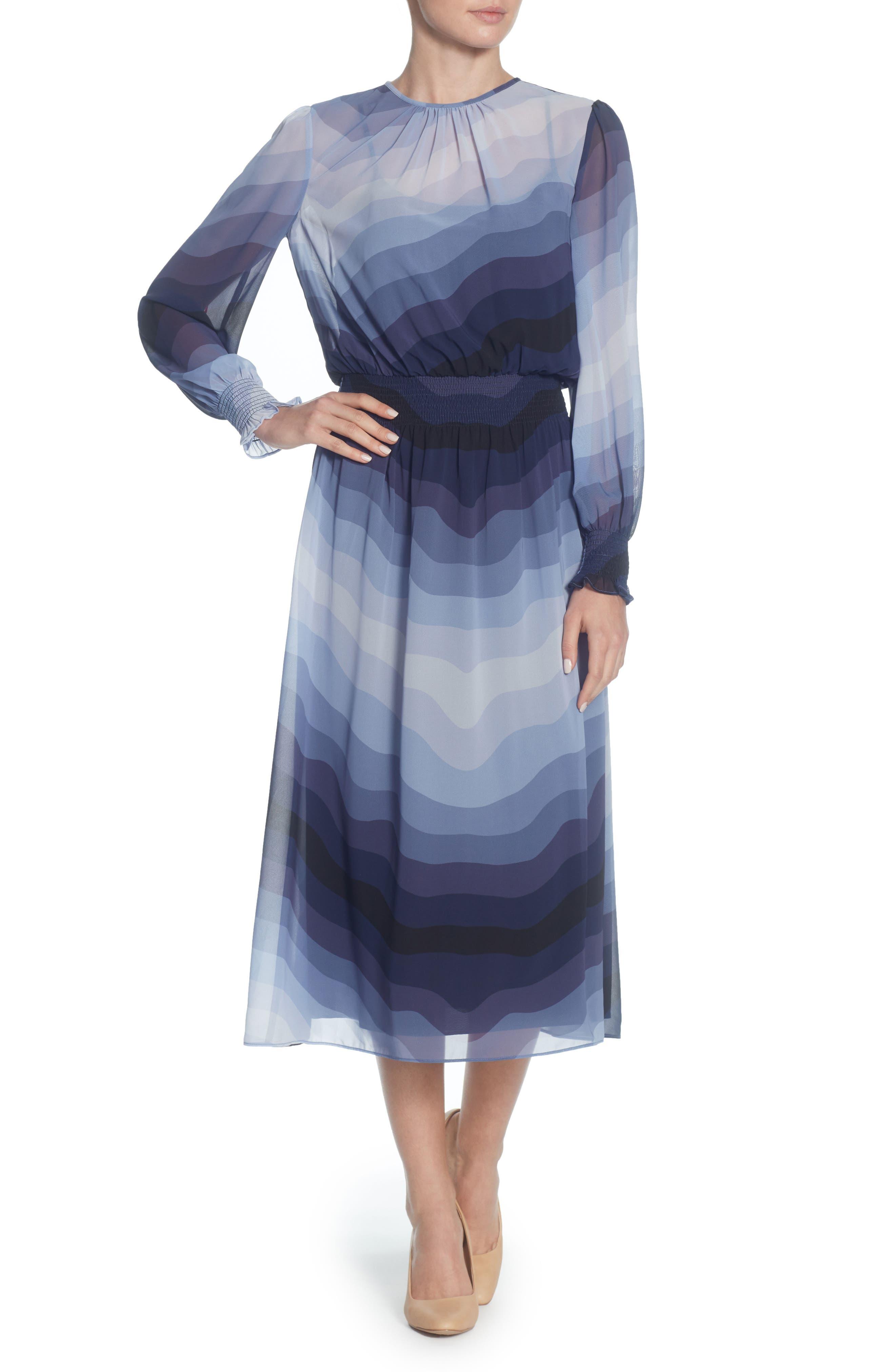 Marlieke Chiffon Midi Dress,                         Main,                         color, Heron Wave