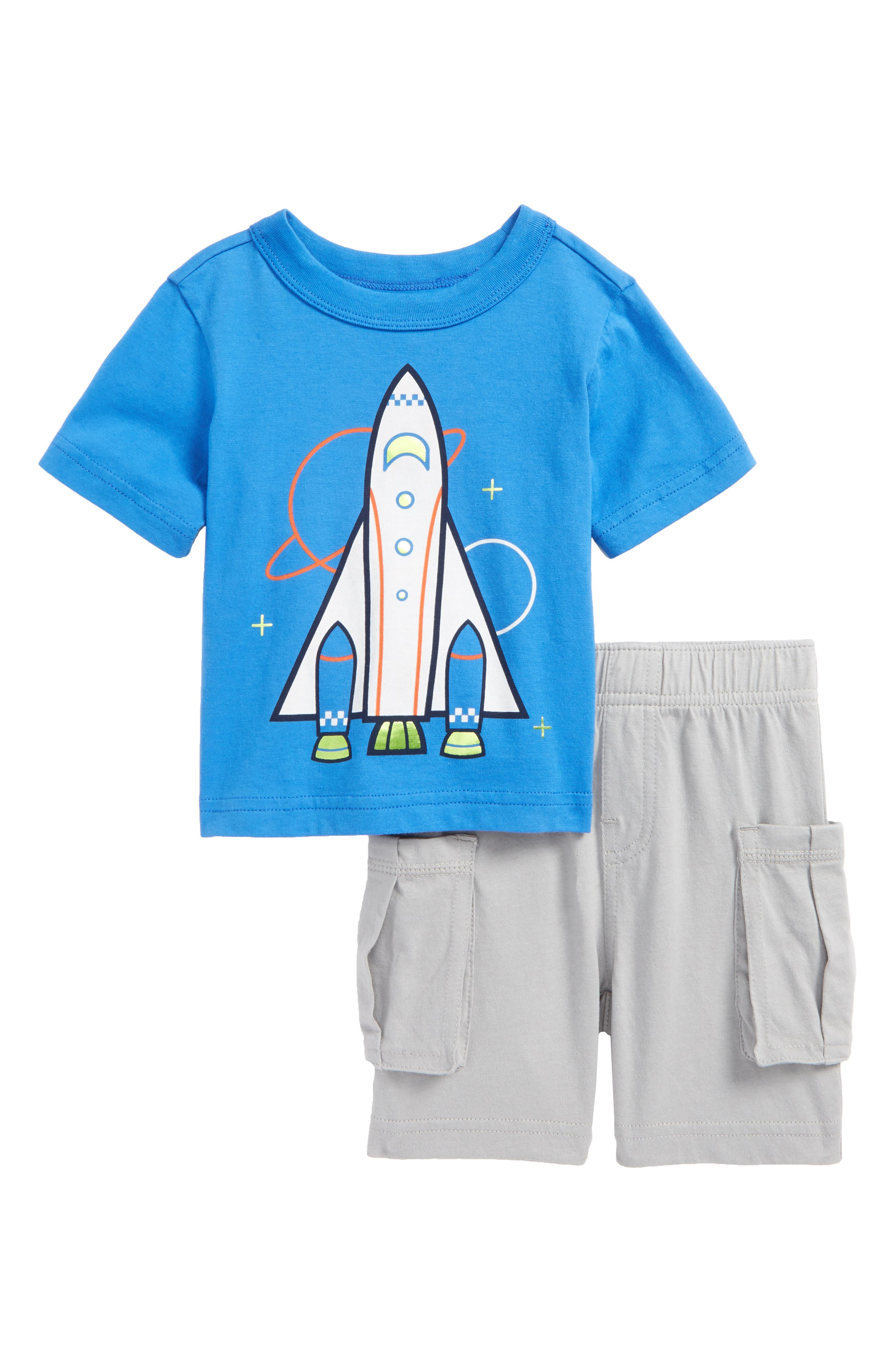 Spaceship Graphic T-Shirt & Cargo Shorts Set,                         Main,                         color, Palace Blue