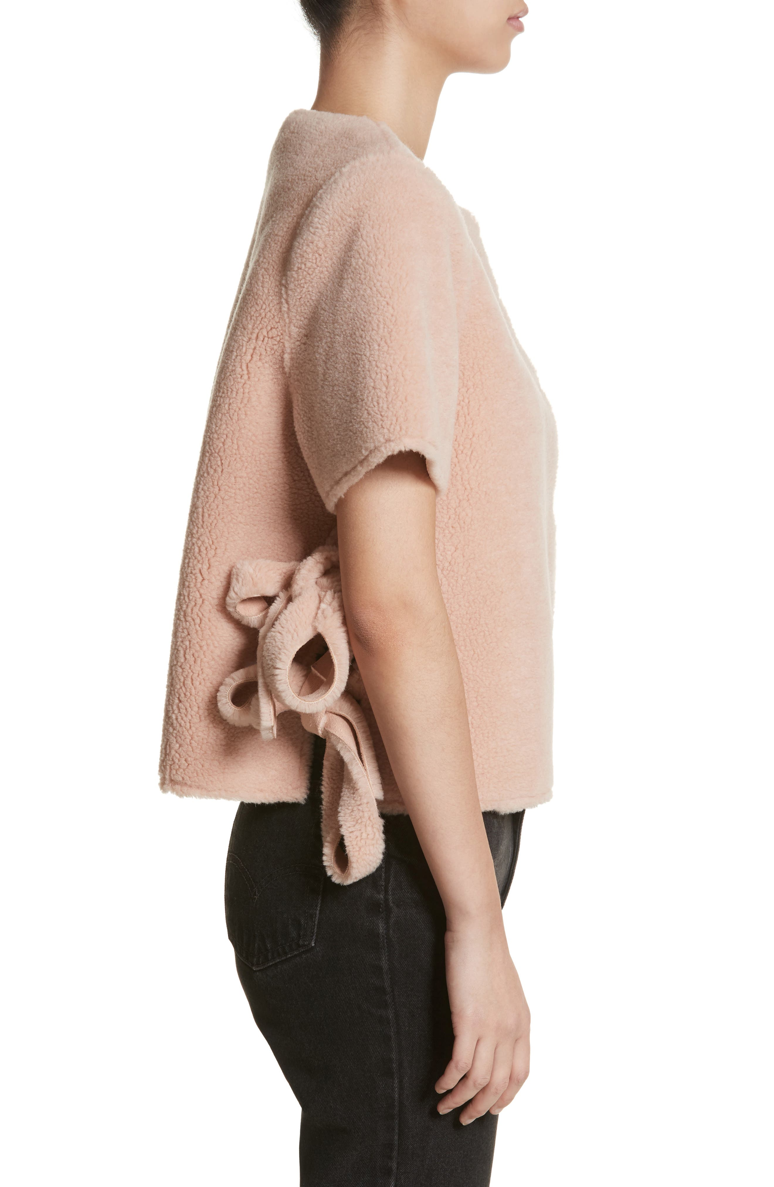 Alfonso Faux Shearling Side Tie Jacket,                             Alternate thumbnail 3, color,                             Peach Beige