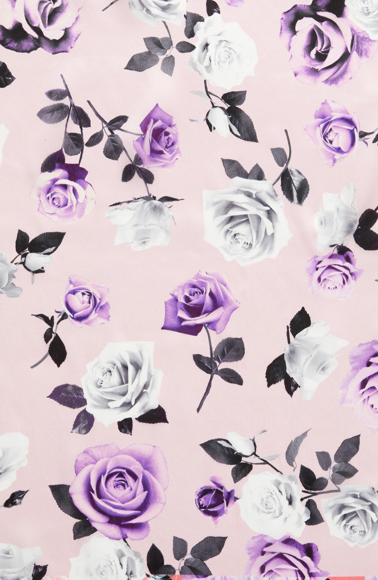 Print Silk Scarf,                             Alternate thumbnail 4, color,                             Pink Glam Rock Rose Print