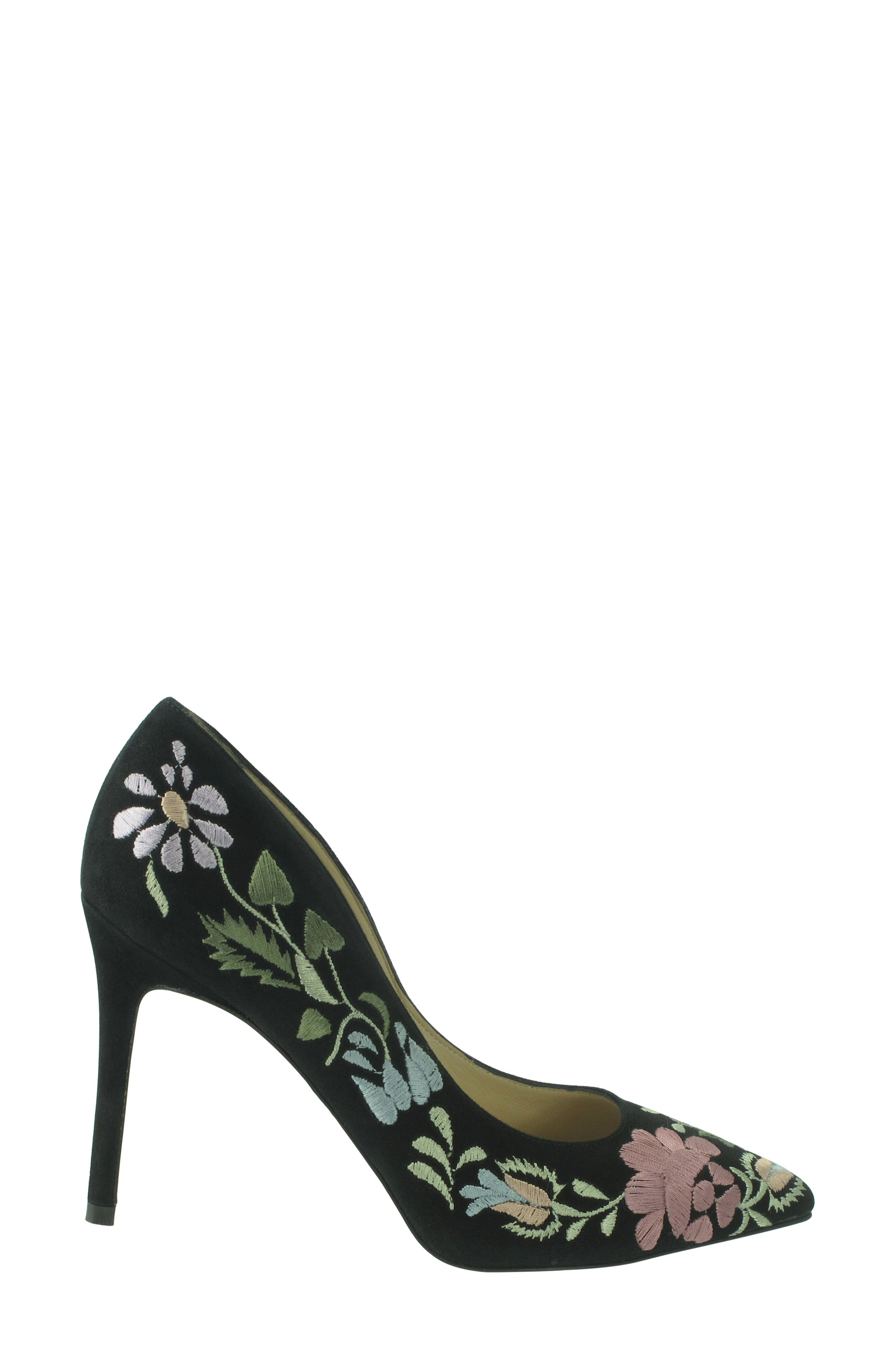 Shana Flower Embroidered Pump,                             Alternate thumbnail 4, color,                             Onyx Multi Suede