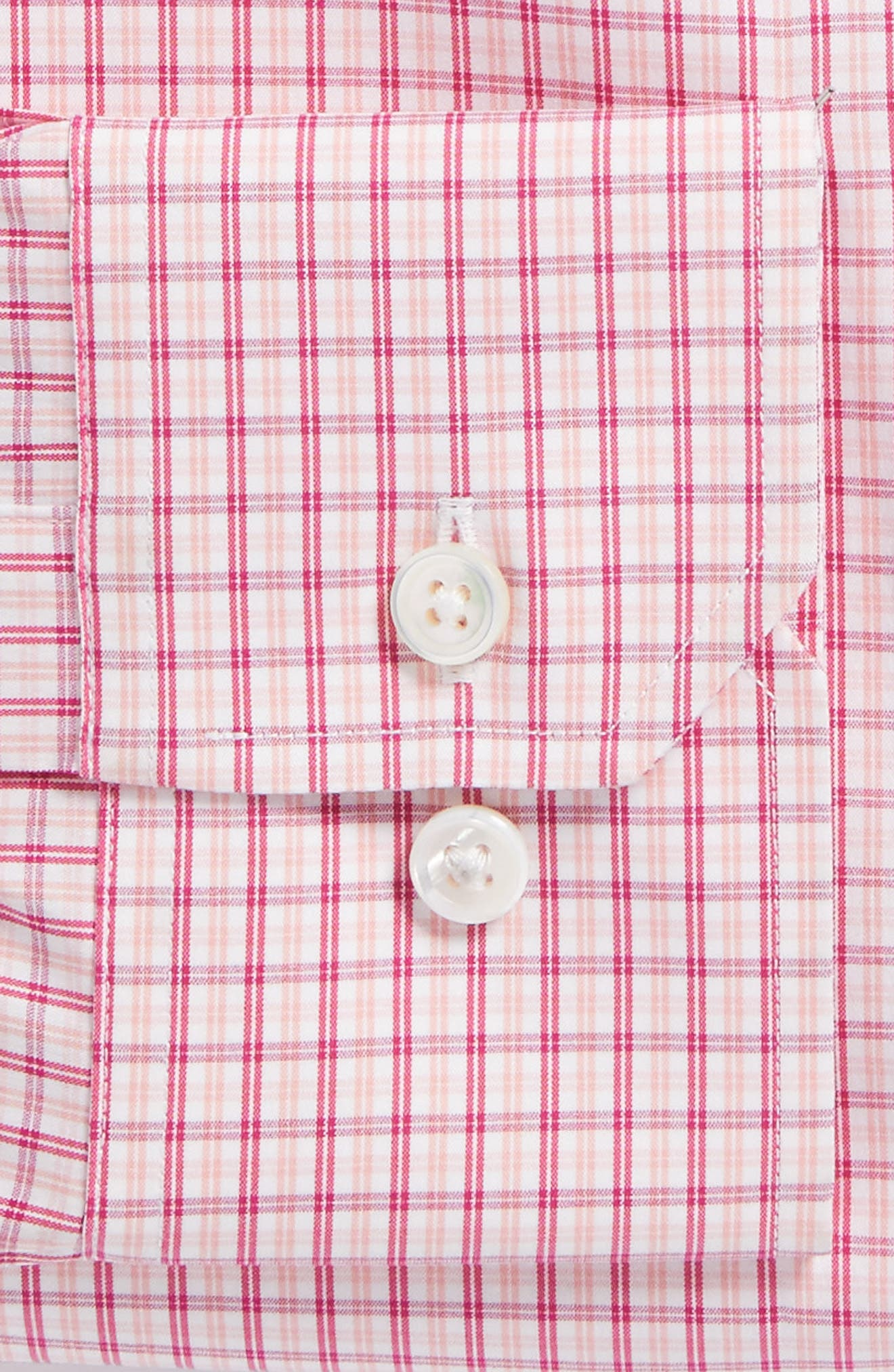 Jetsetter Slim Fit Stretch Check Dress Shirt,                             Alternate thumbnail 5, color,                             Pink Peacock
