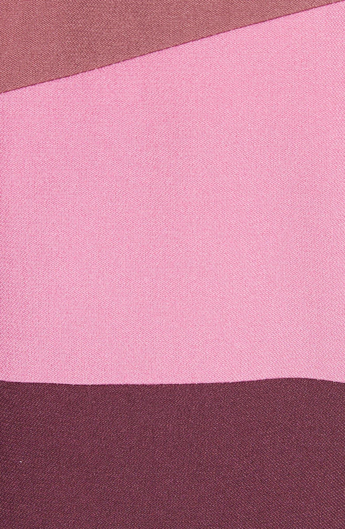 Tatum Stripe Paneled Fit & Flare Dress,                             Alternate thumbnail 6, color,                             Plum/ Blossom/ Mink