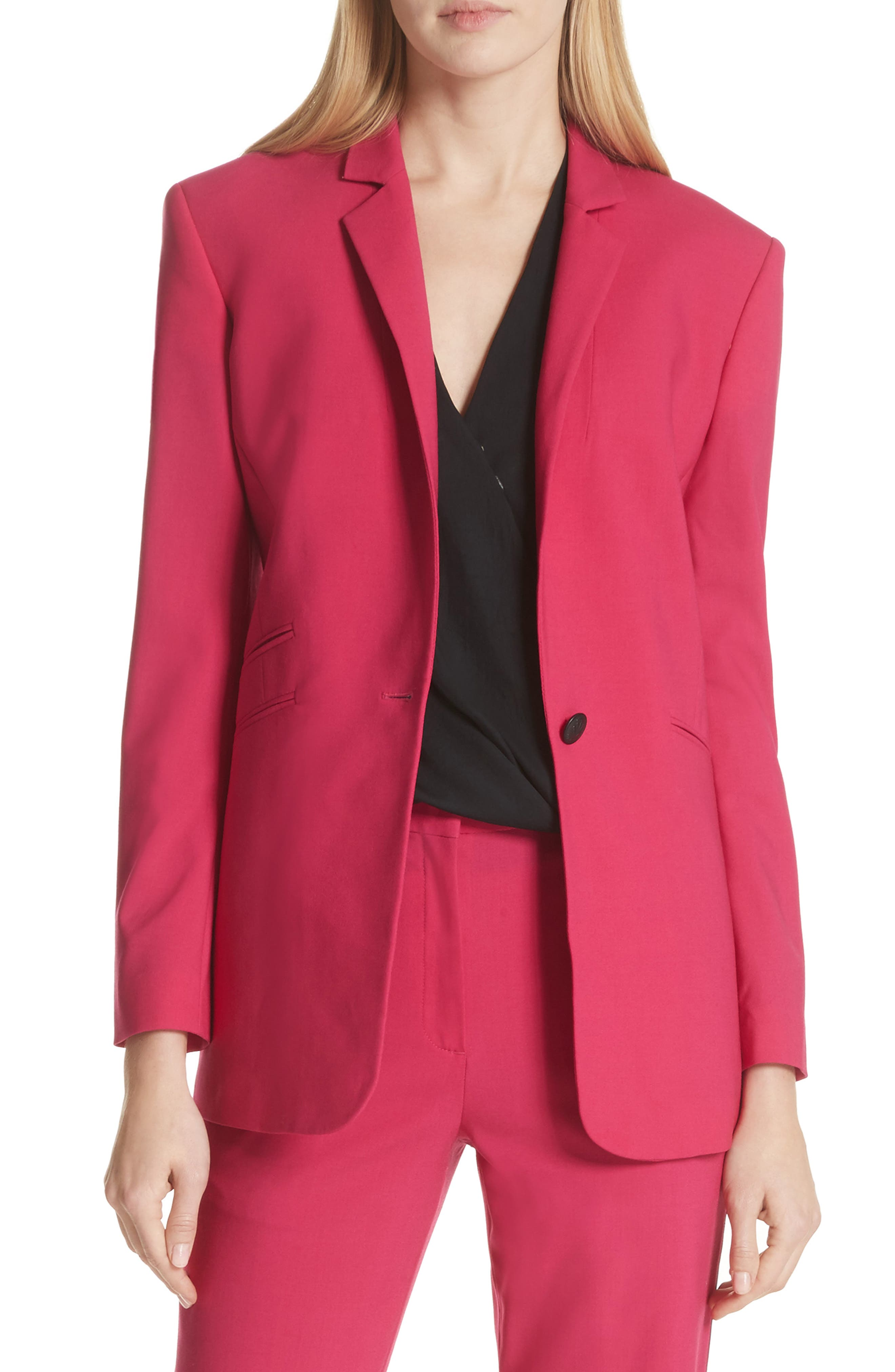Ridley Stretch Wool Blazer,                             Main thumbnail 1, color,                             Pink