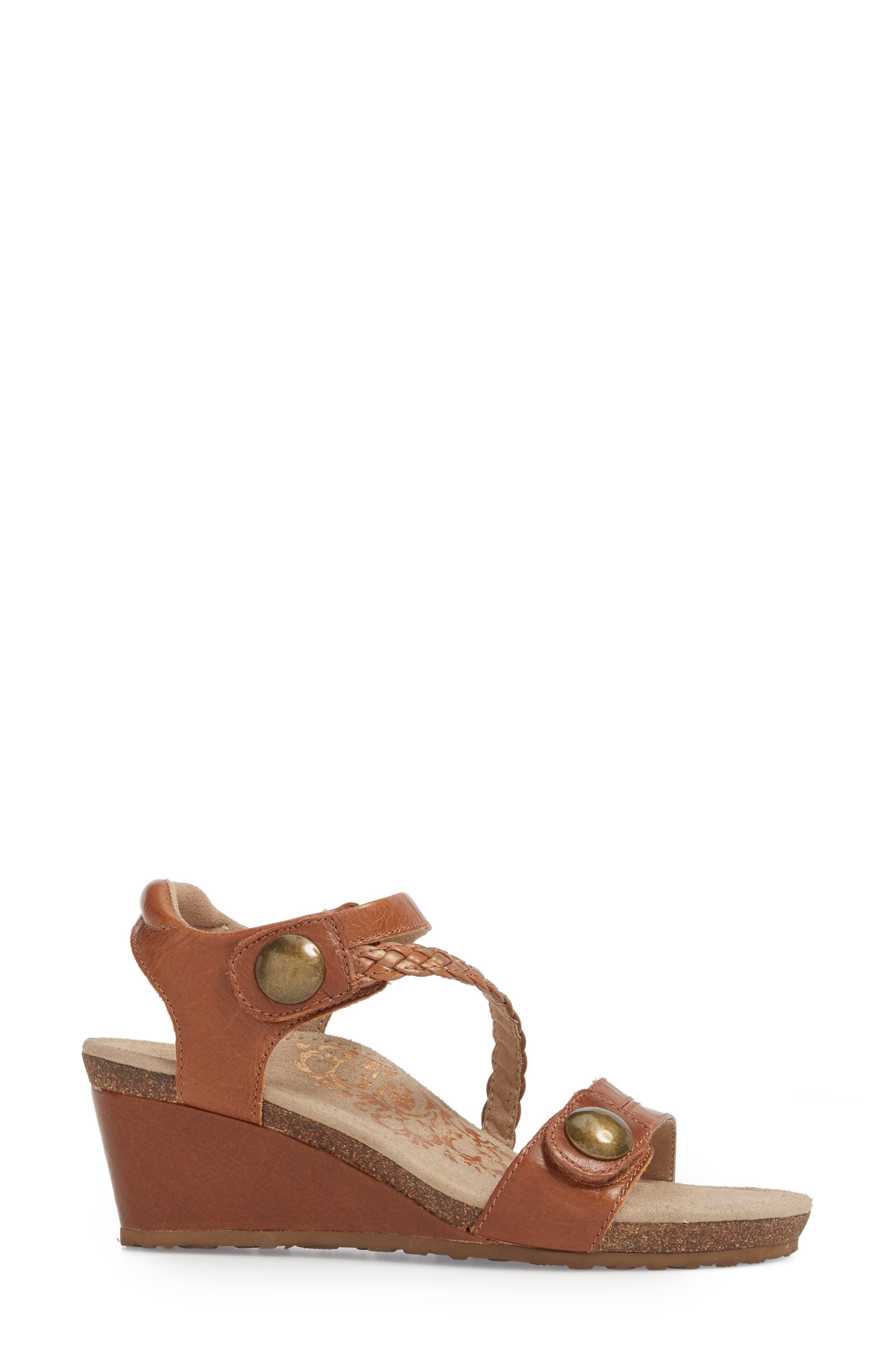 'Naya' Wedge Sandal,                             Alternate thumbnail 3, color,                             Cognac Leather