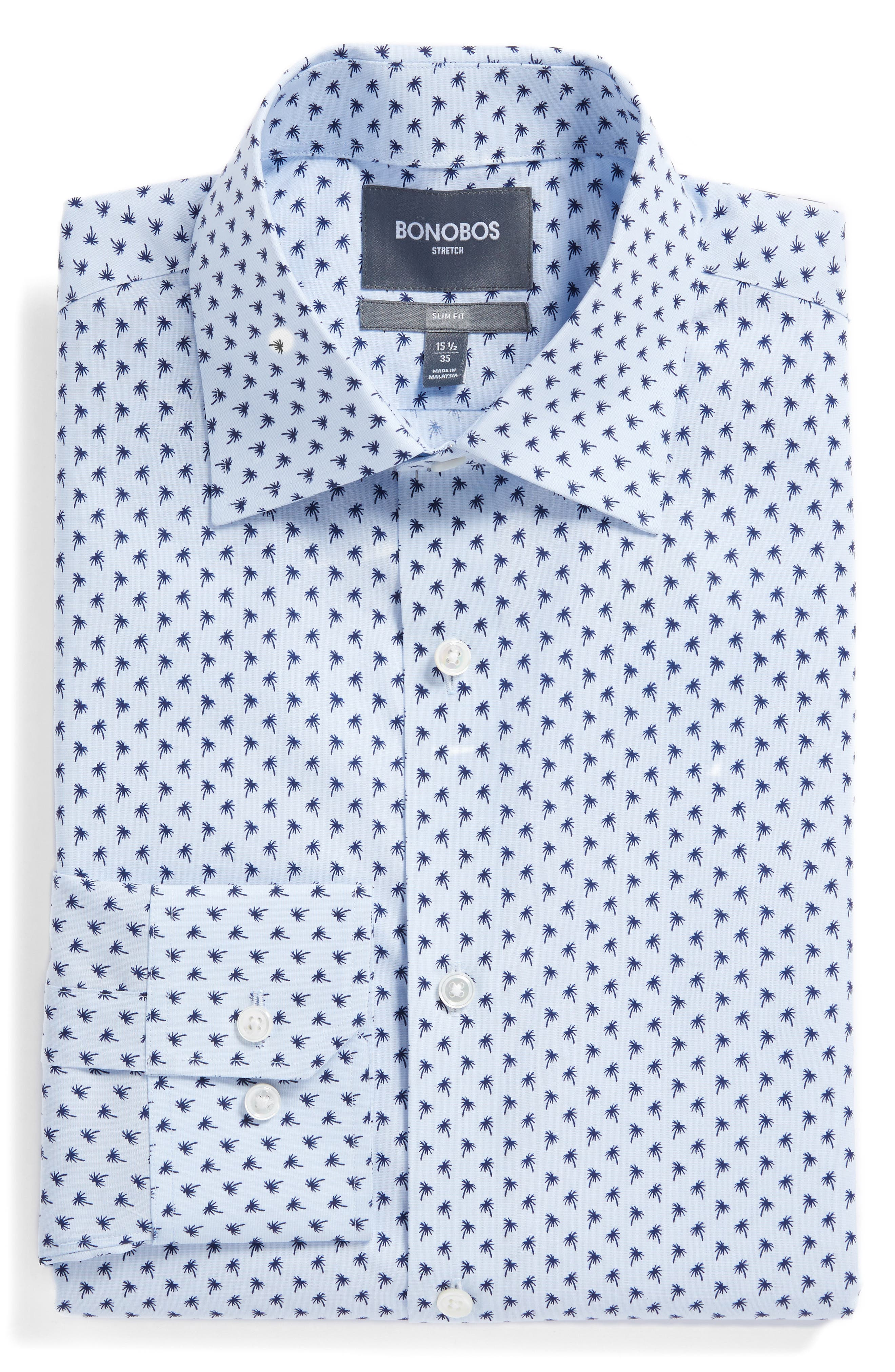Jetsetter Slim Fit Print Dress Shirt,                             Main thumbnail 1, color,                             Blue