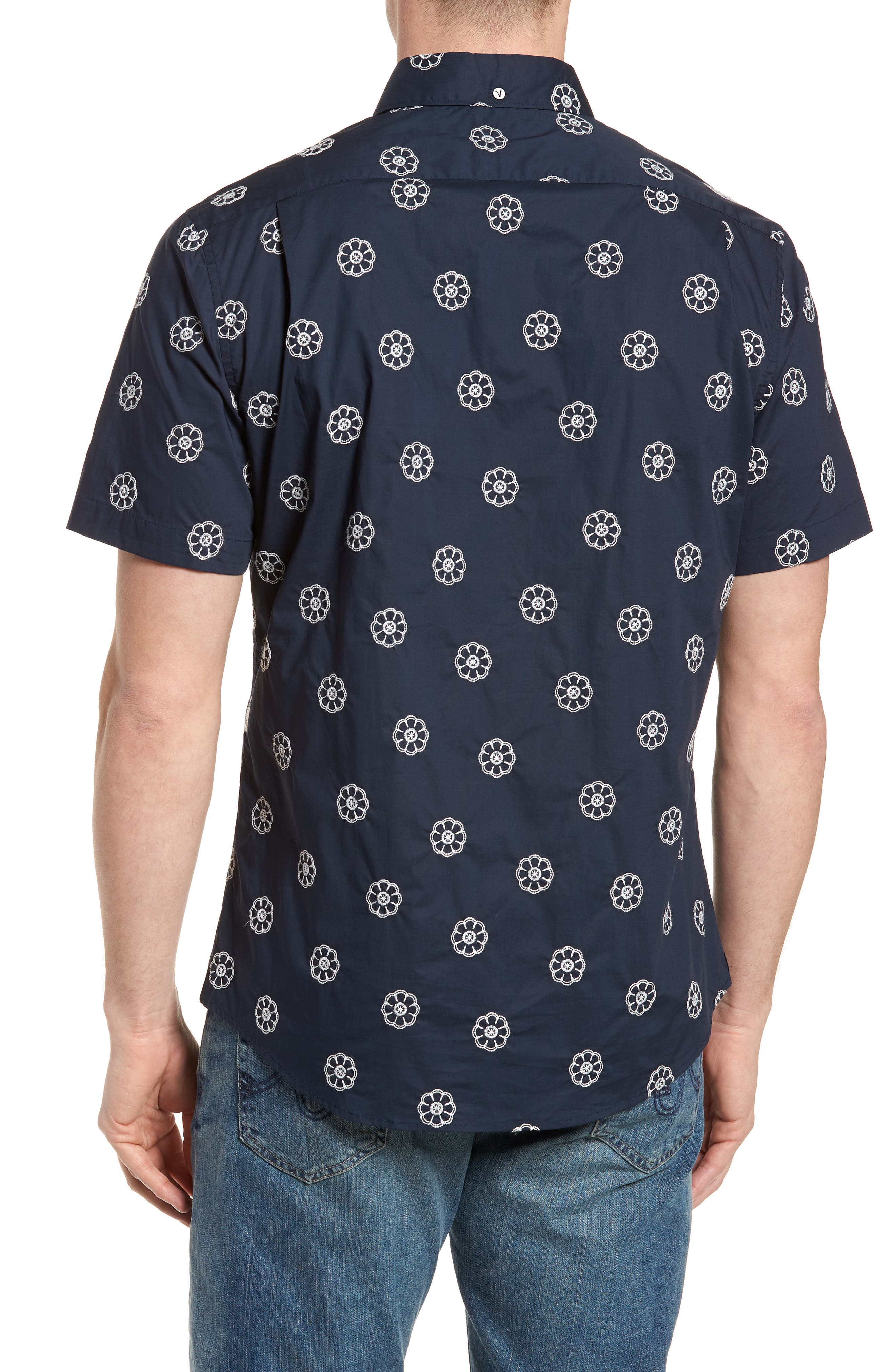 Embroidered Floral Poplin Shirt,                             Alternate thumbnail 3, color,                             Squid Ink W/ Canvas