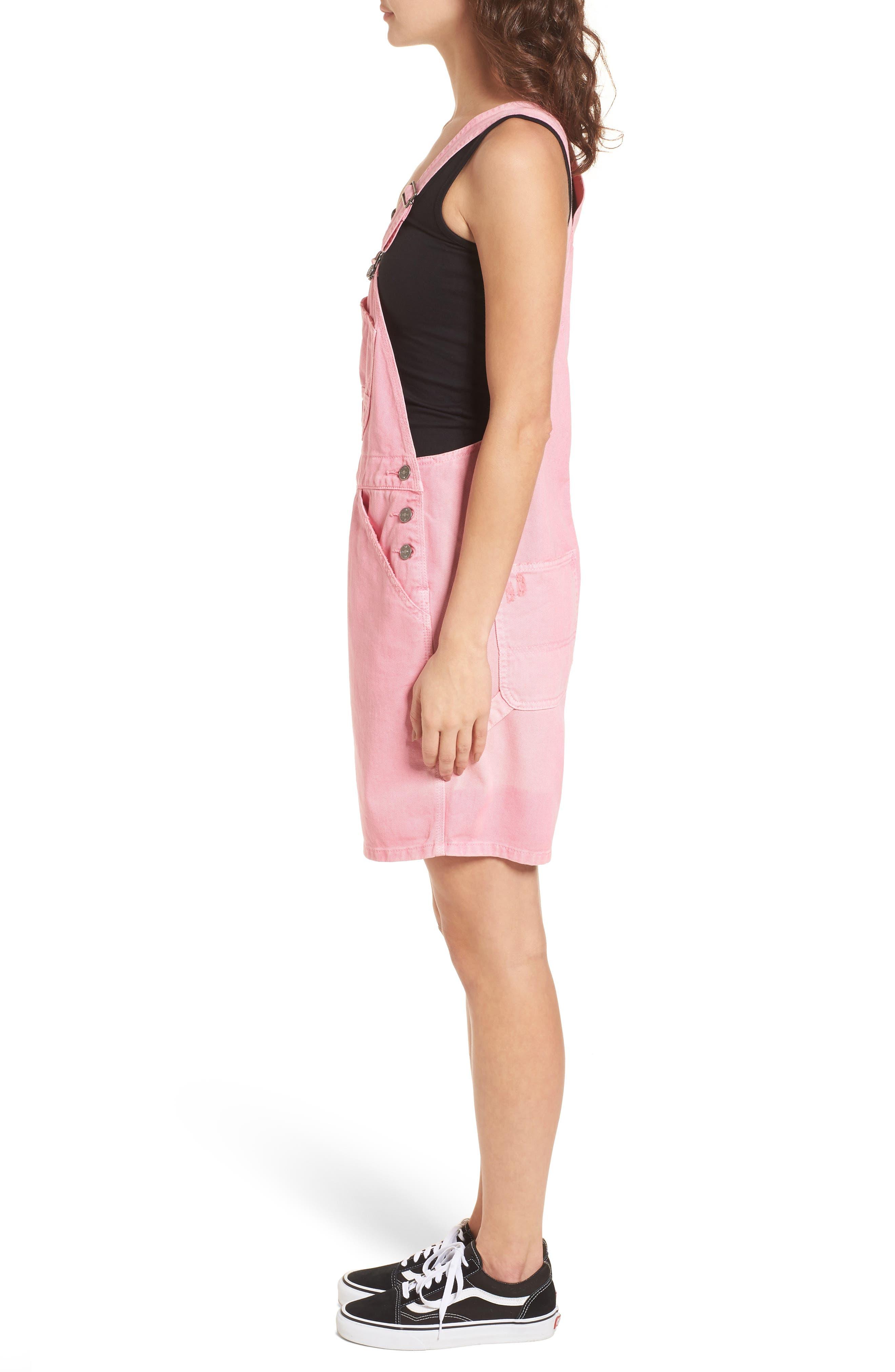 Unionbay Mario Denim Shortalls,                             Alternate thumbnail 3, color,                             Popsicle Pink